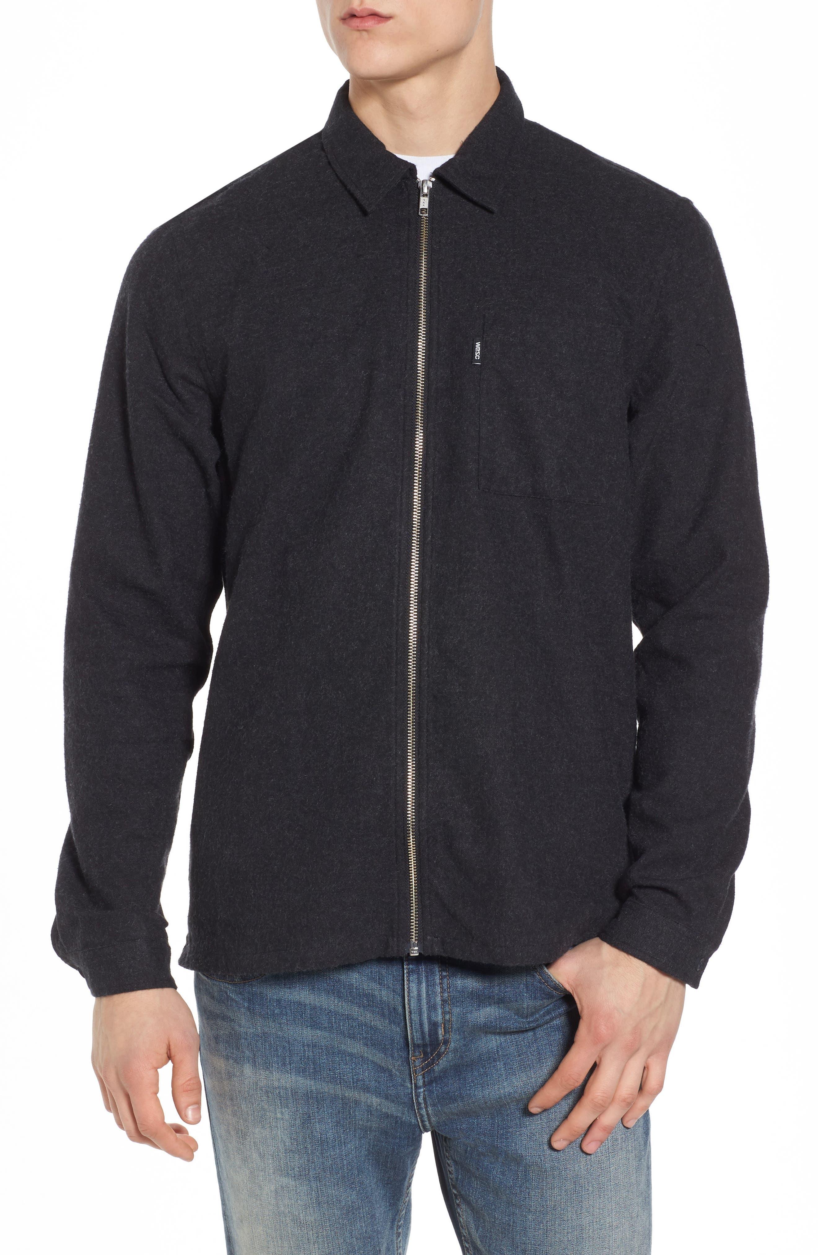Nicks Flannel Zip Overshirt,                         Main,                         color, Black