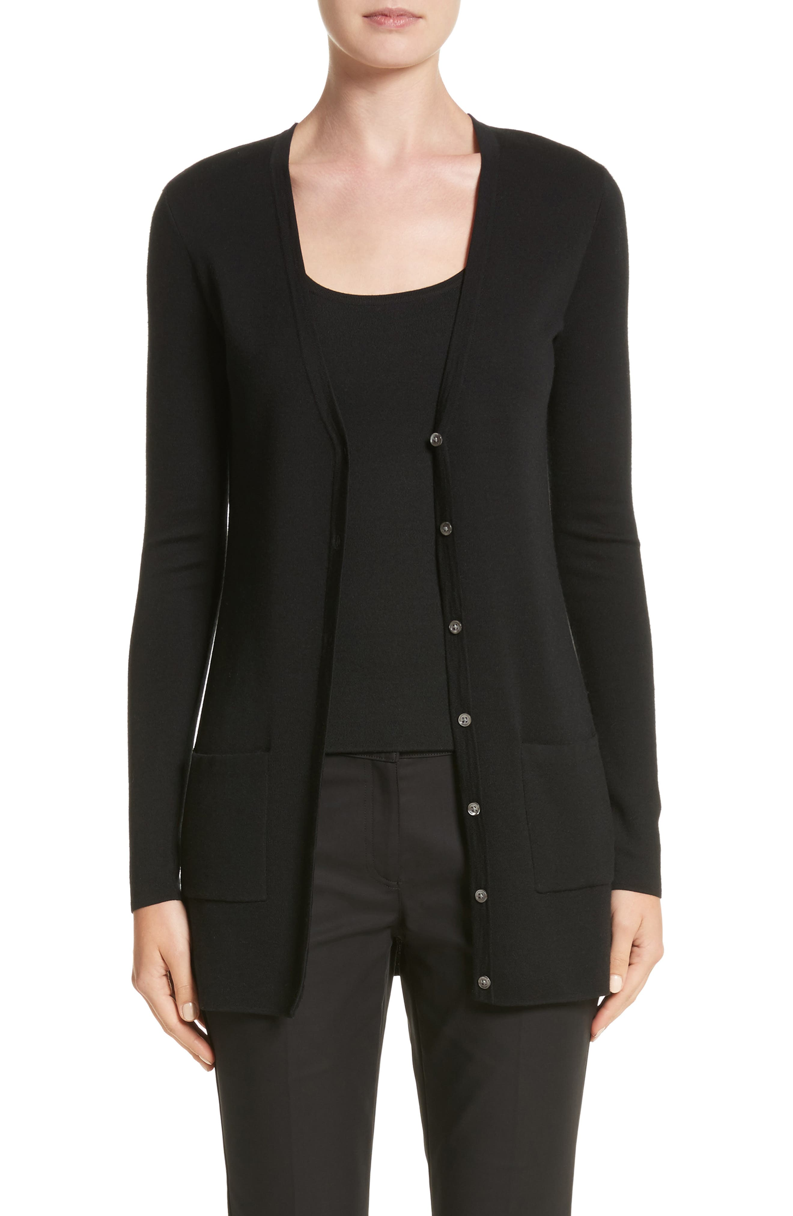 Cashmere Cardigan,                         Main,                         color, Black
