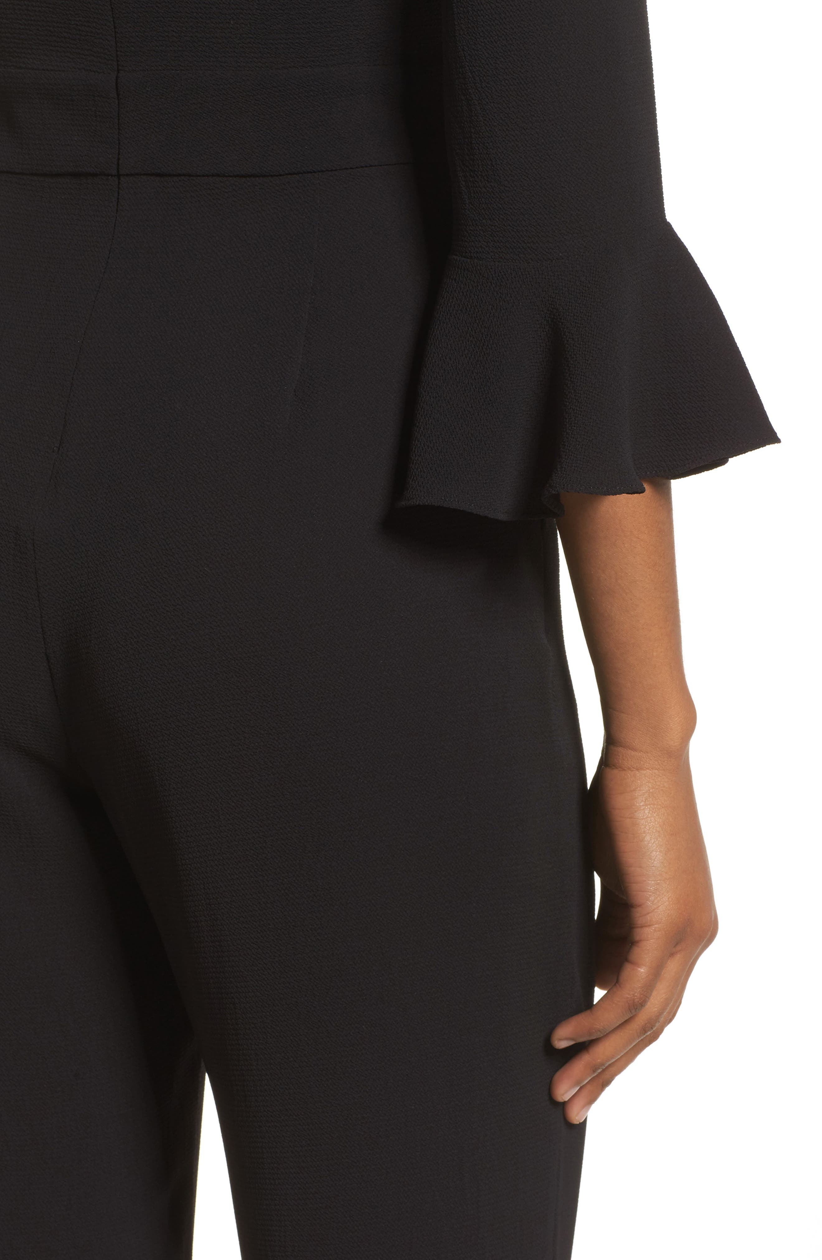 Alternate Image 4  - Charles Henry Flare Cuff Jumpsuit (Regular & Petite)