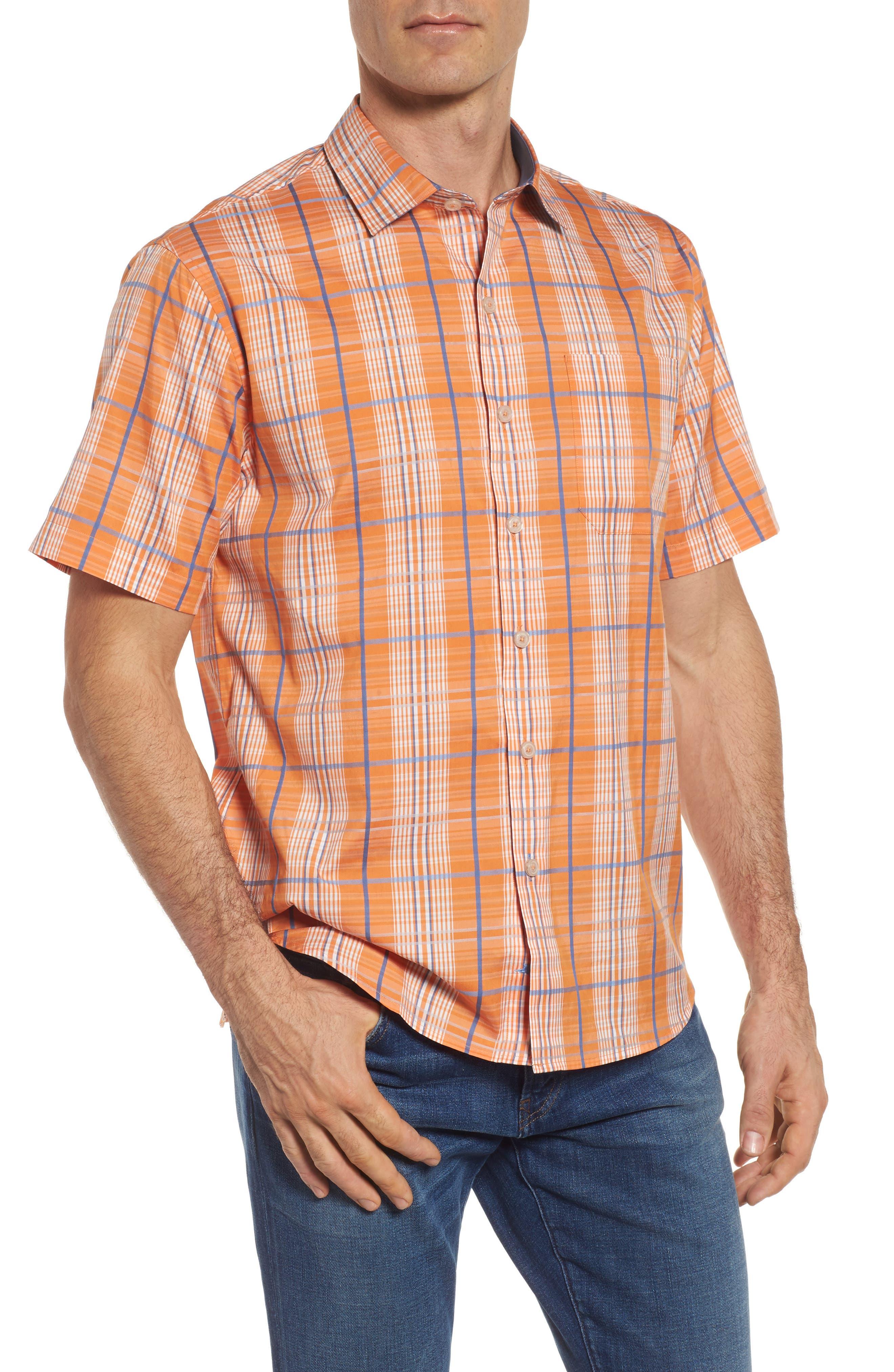 Playa Del Plaid Sport Shirt,                         Main,                         color, California Poppy