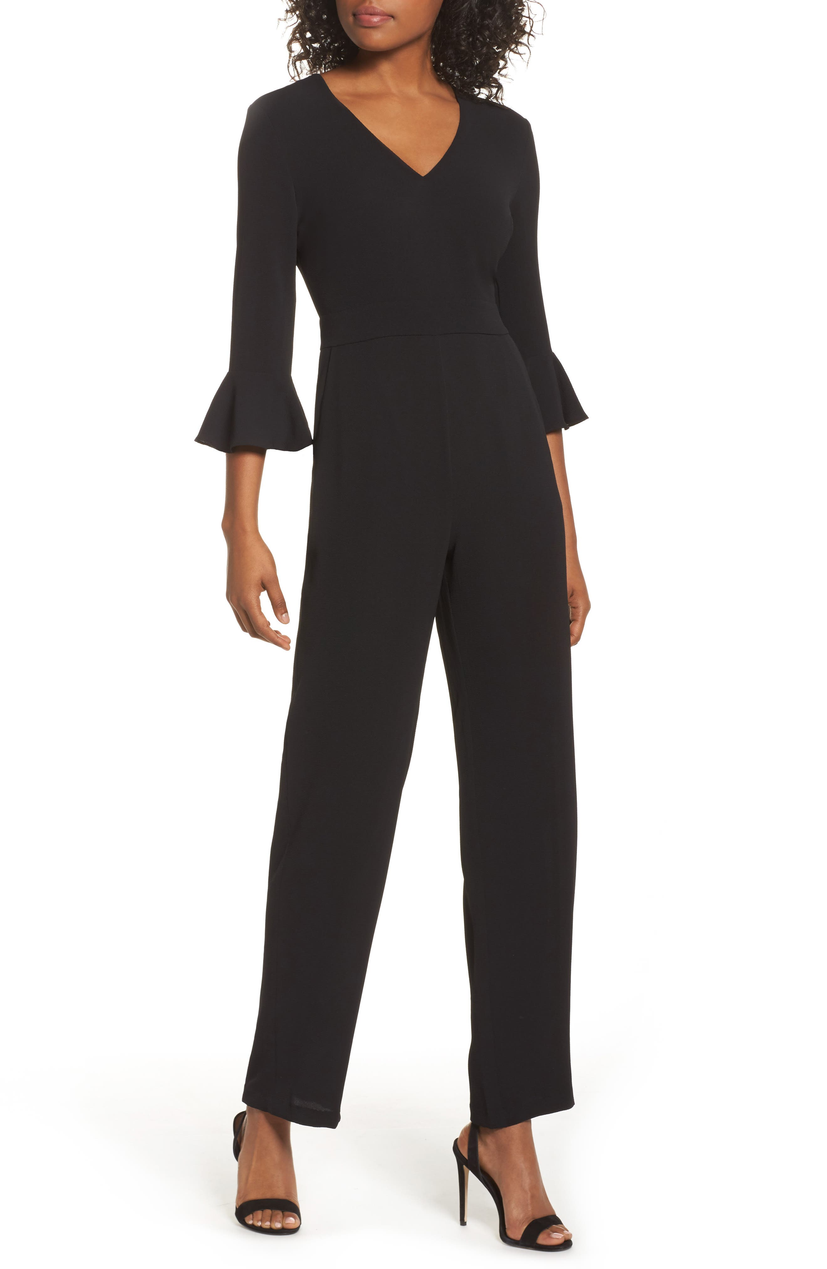 Flare Cuff Jumpsuit,                         Main,                         color, Black