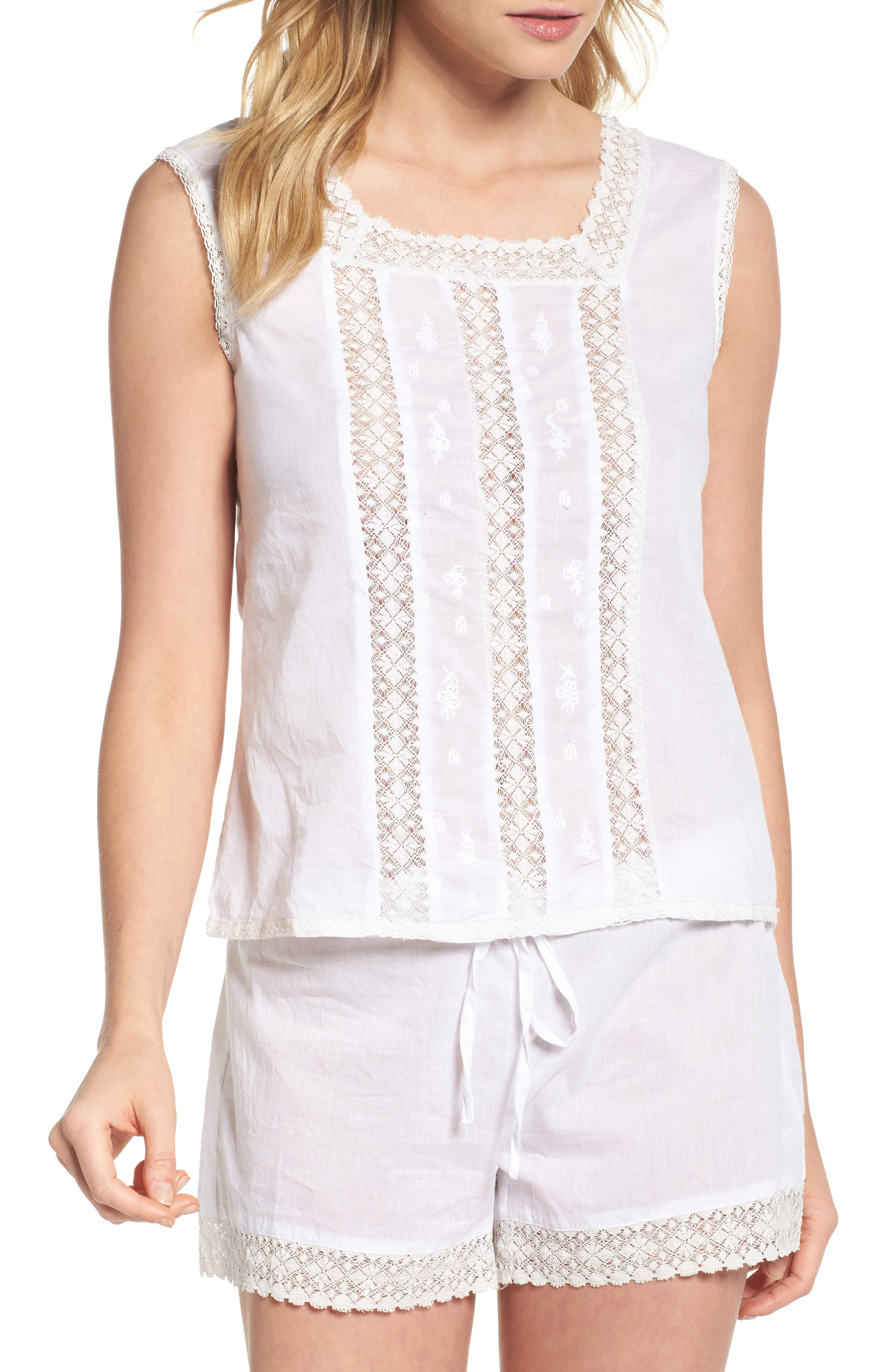 Embroidered Top,                         Main,                         color, White