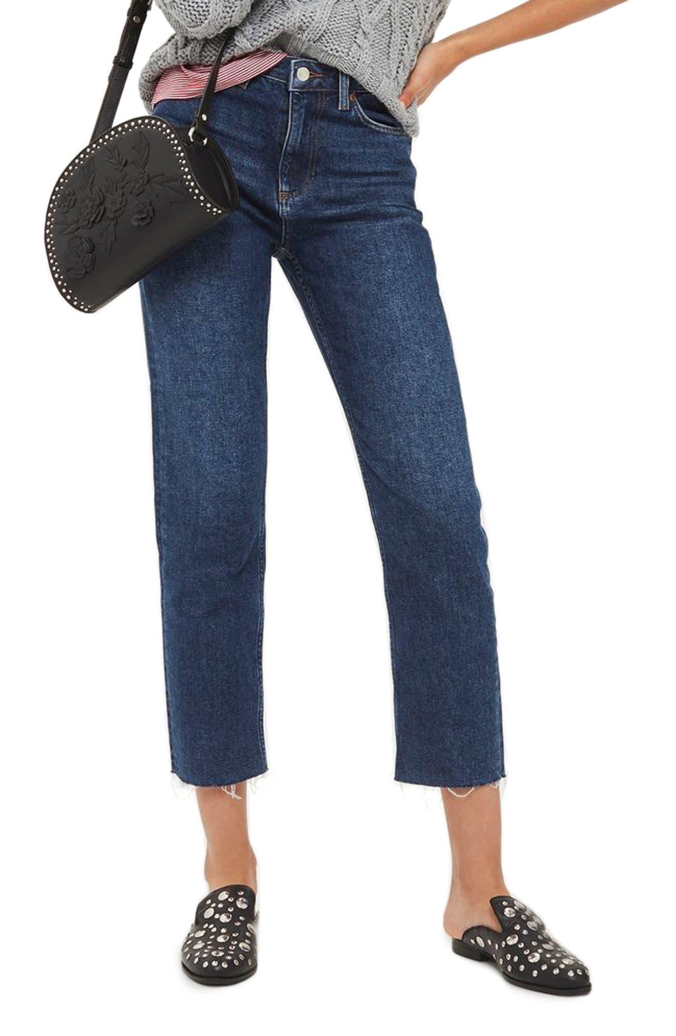 Crop Straight Leg Jeans,                         Main,                         color, Dark Blue