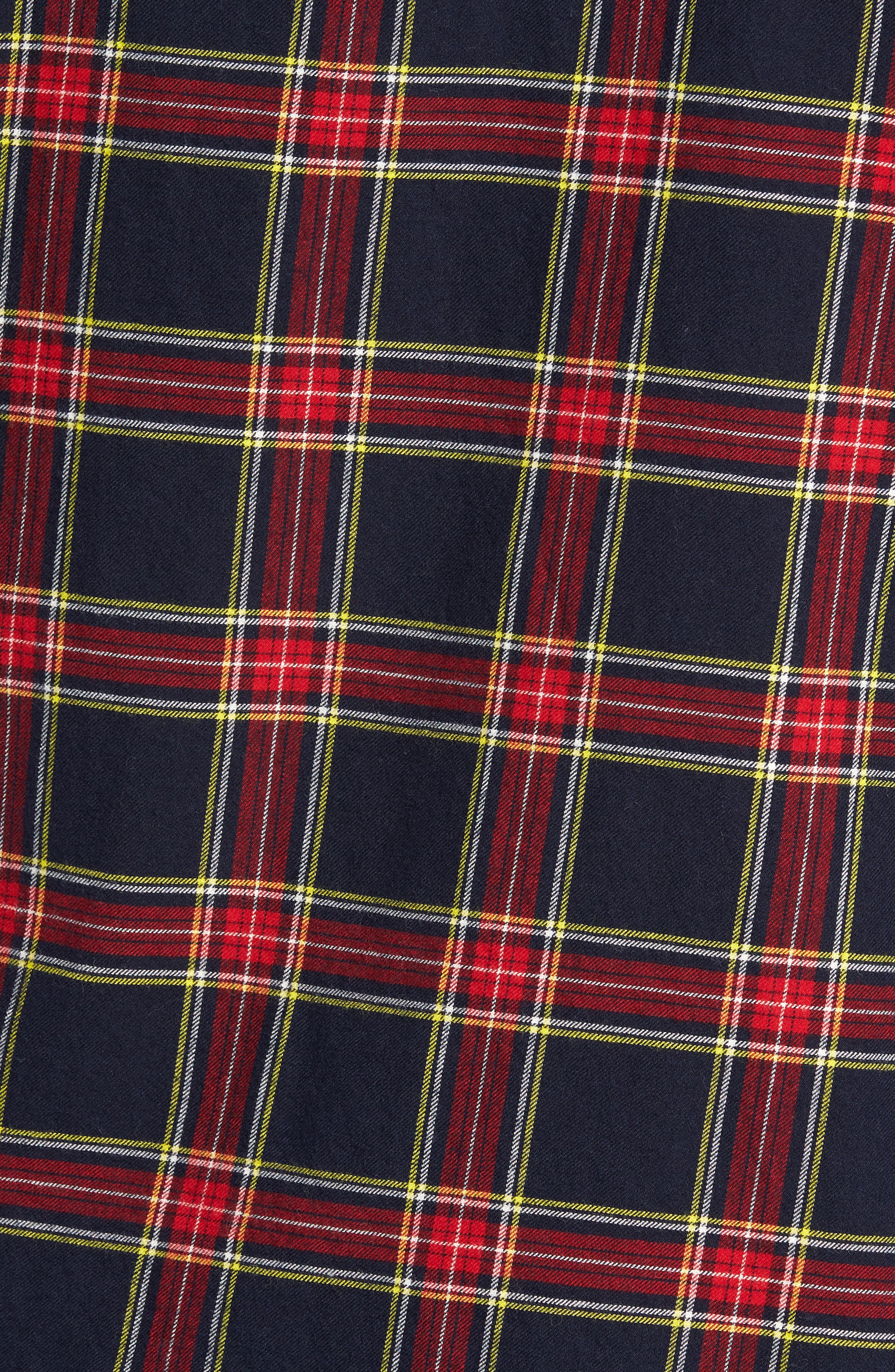 Unbutton Down Slim Fit Plaid Sport Shirt,                             Alternate thumbnail 5, color,                             Mohr Tartan/ Firecracker