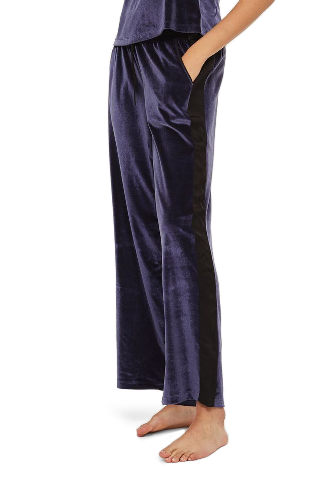 Nocturne Velvet Pajama Pants,                             Main thumbnail 1, color,                             Navy Blue