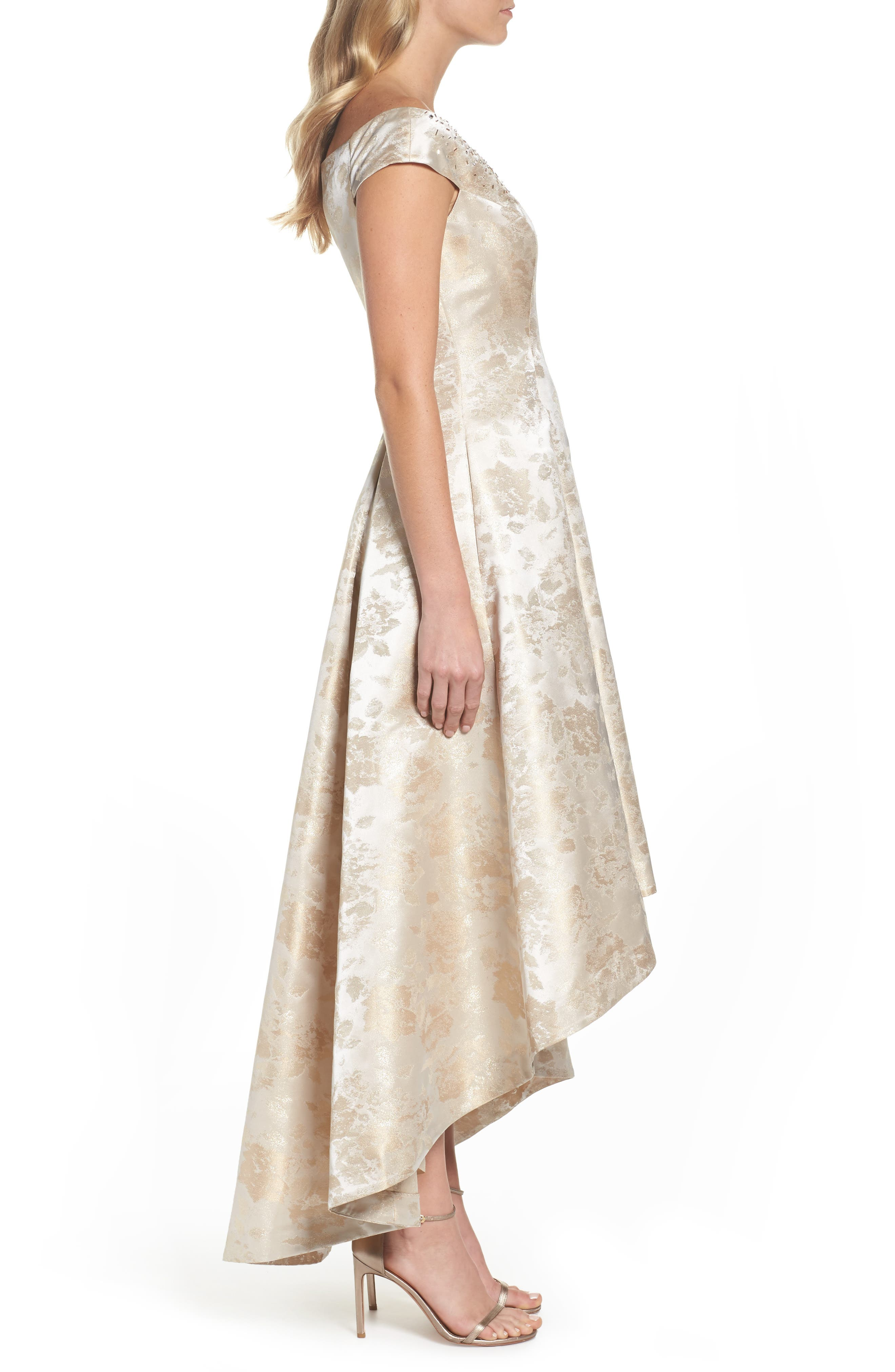 Off the Shoulder High/Low Gown,                             Alternate thumbnail 3, color,                             Champagne