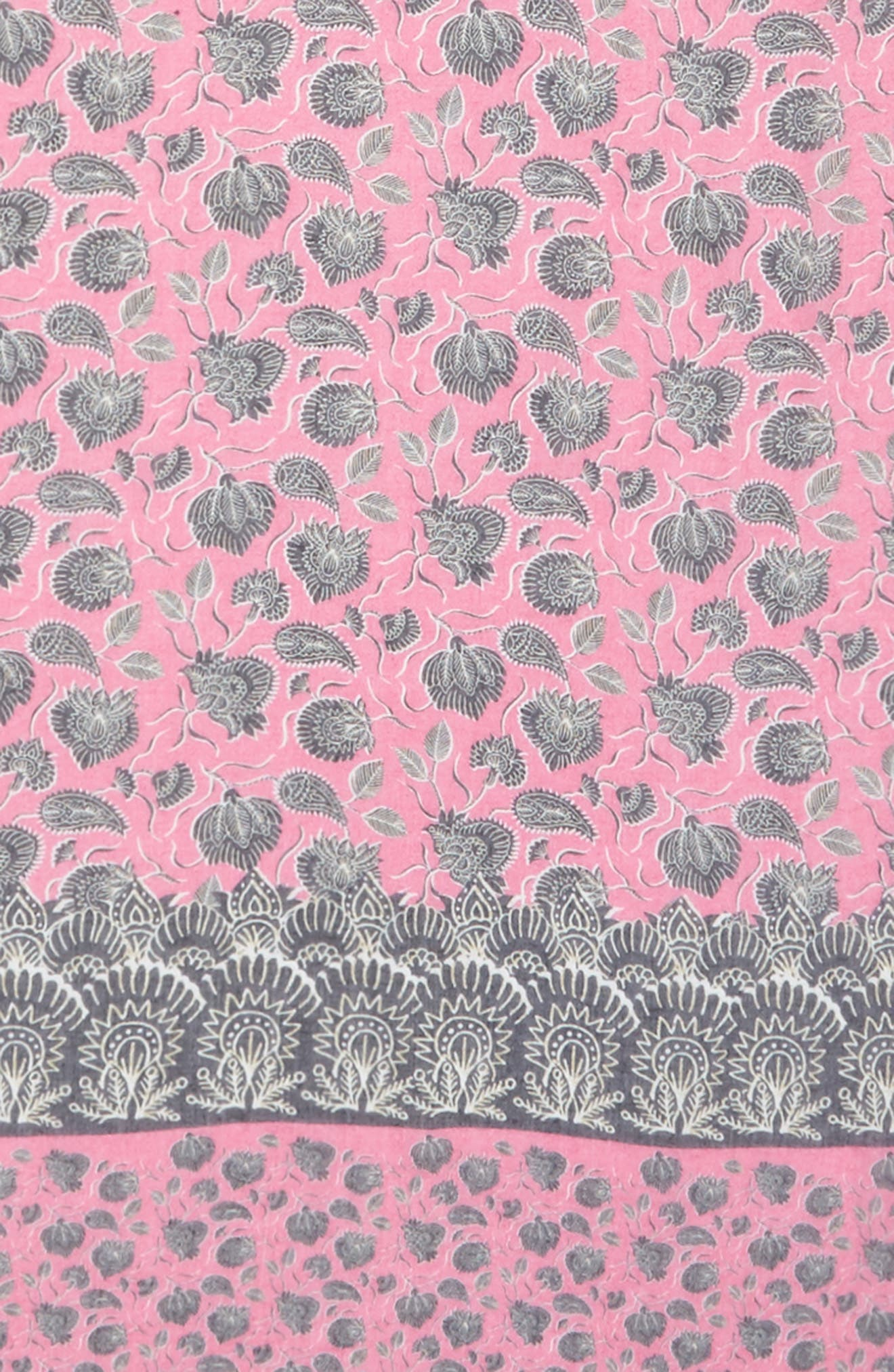 Lotus Paisley Oblong Scarf,                             Alternate thumbnail 4, color,                             Fuchsia Pink