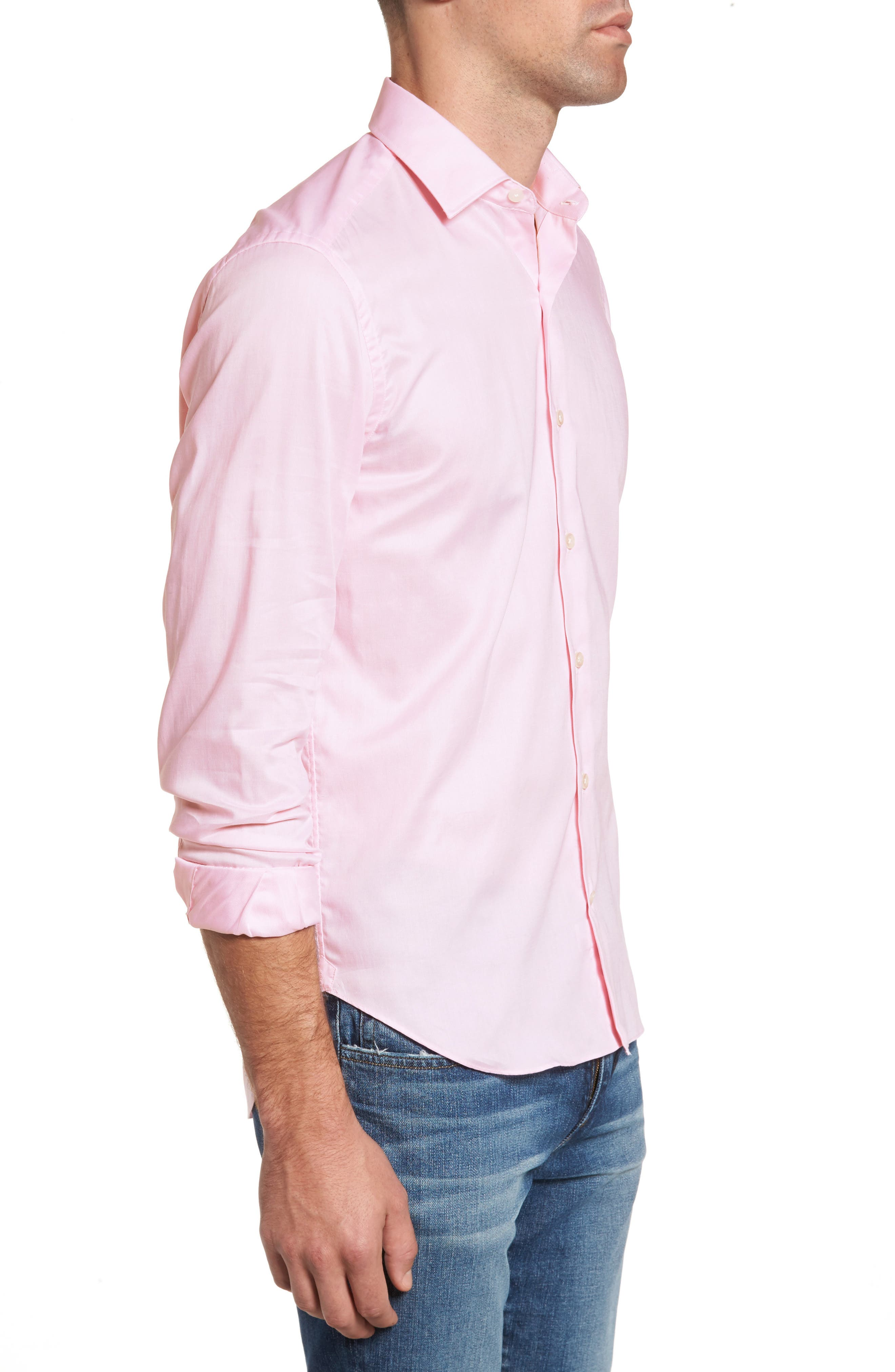 Slim Fit Micro Stripe Sport Shirt,                             Alternate thumbnail 3, color,                             Pink