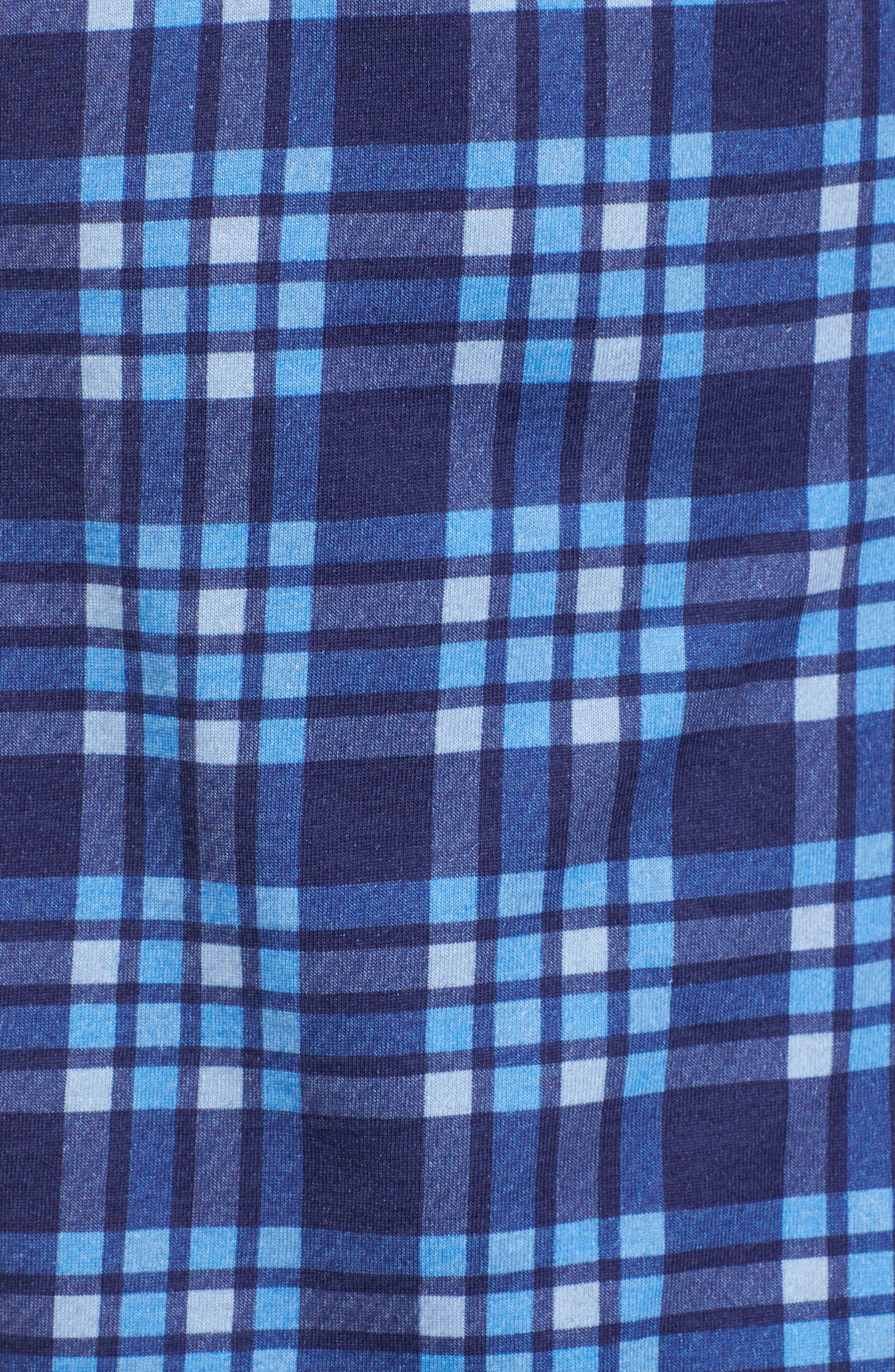 Plaid Print Jersey Shirt,                             Alternate thumbnail 5, color,                             Navy