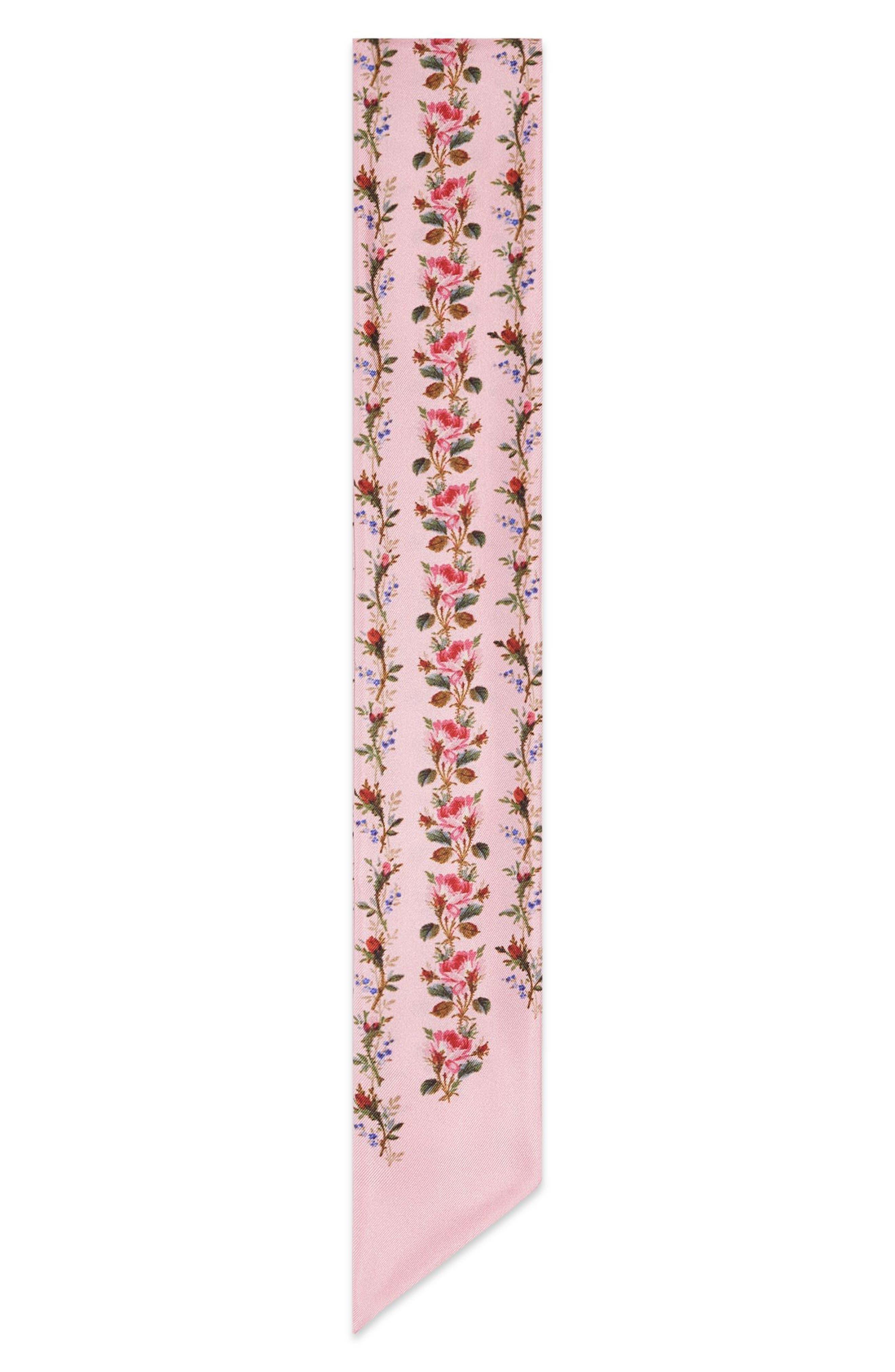 Rose Print Silk Neck Scarf,                         Main,                         color, Pink