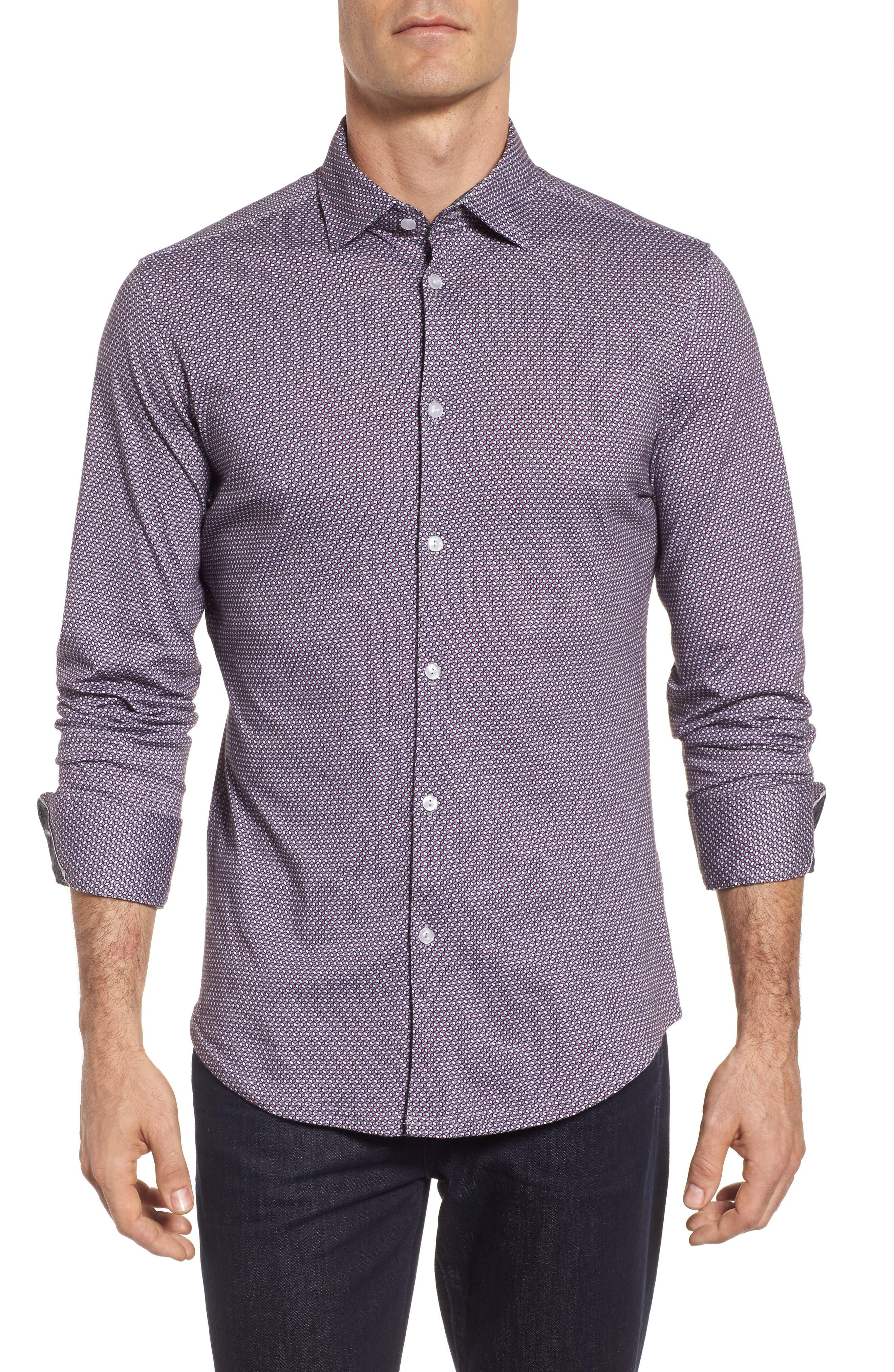Geo Print Knit Sport Shirt,                         Main,                         color, Purple