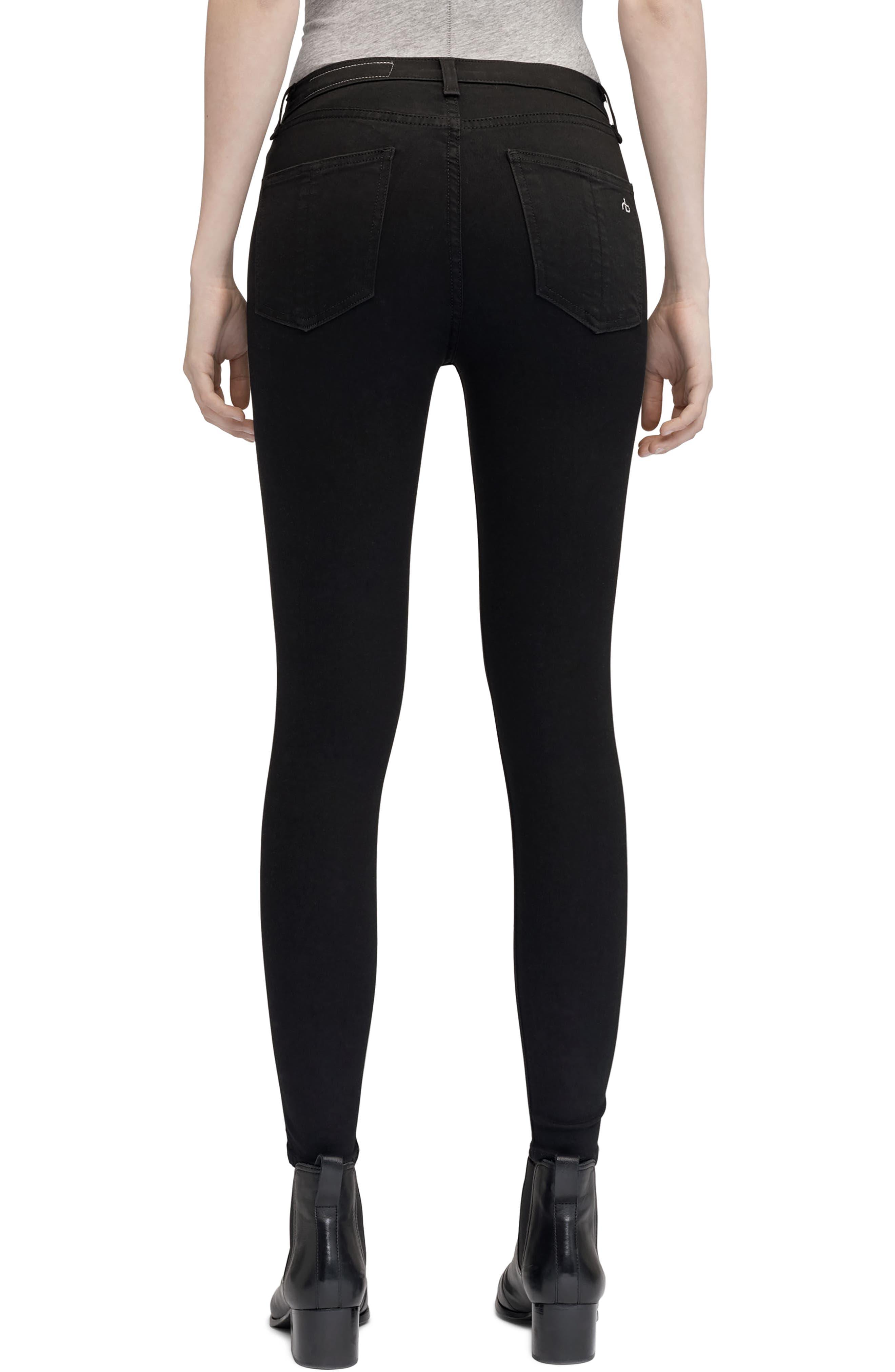 High Waist Ankle Skinny Jeans,                             Alternate thumbnail 2, color,                             Black