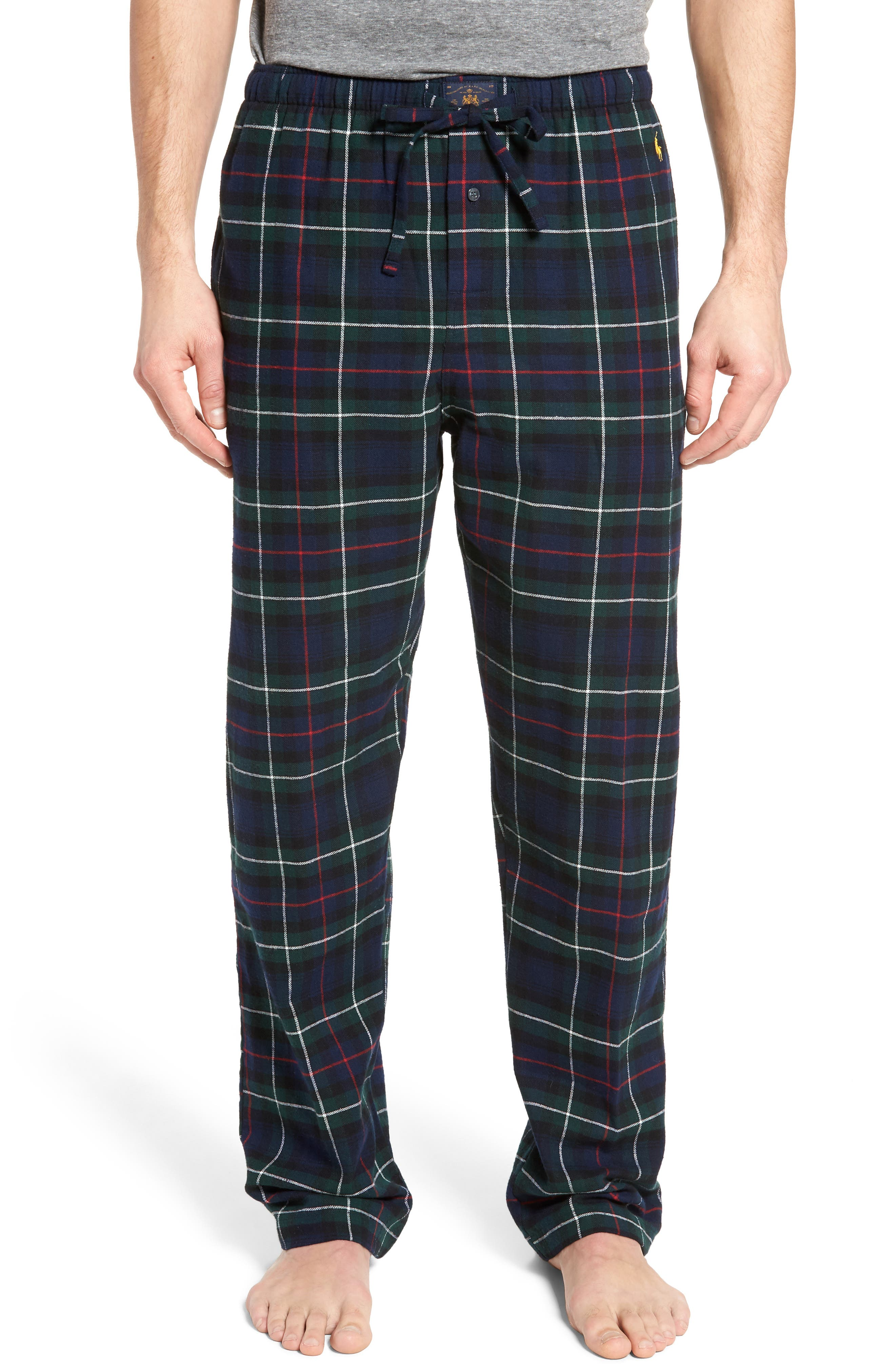 Flannel Pajama Pants,                         Main,                         color, Blackwatch/ Cruise Navy/ Gold