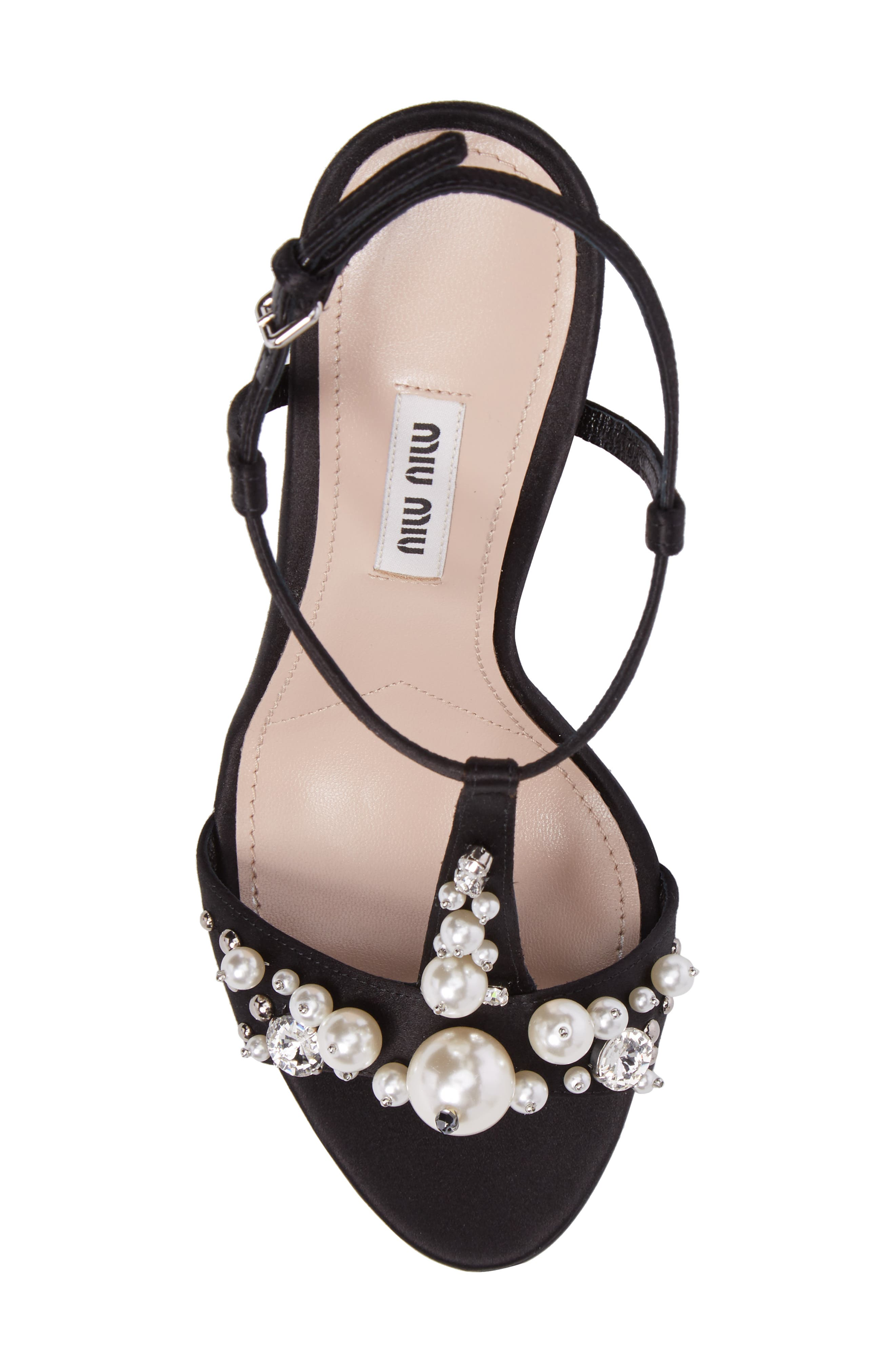 Embellished T-Strap Sandal,                             Alternate thumbnail 4, color,                             Black