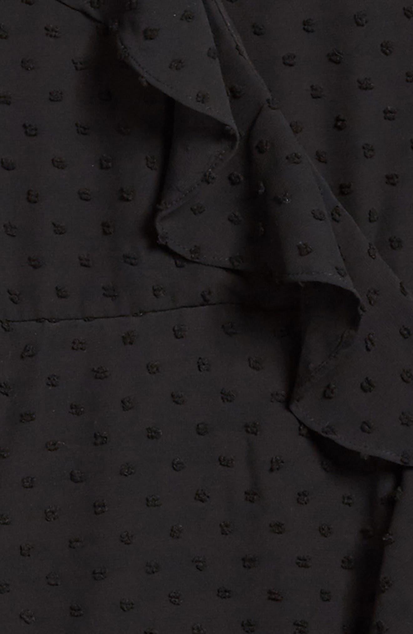 Ruffle Dobby Georgette Dress,                             Alternate thumbnail 3, color,                             Black