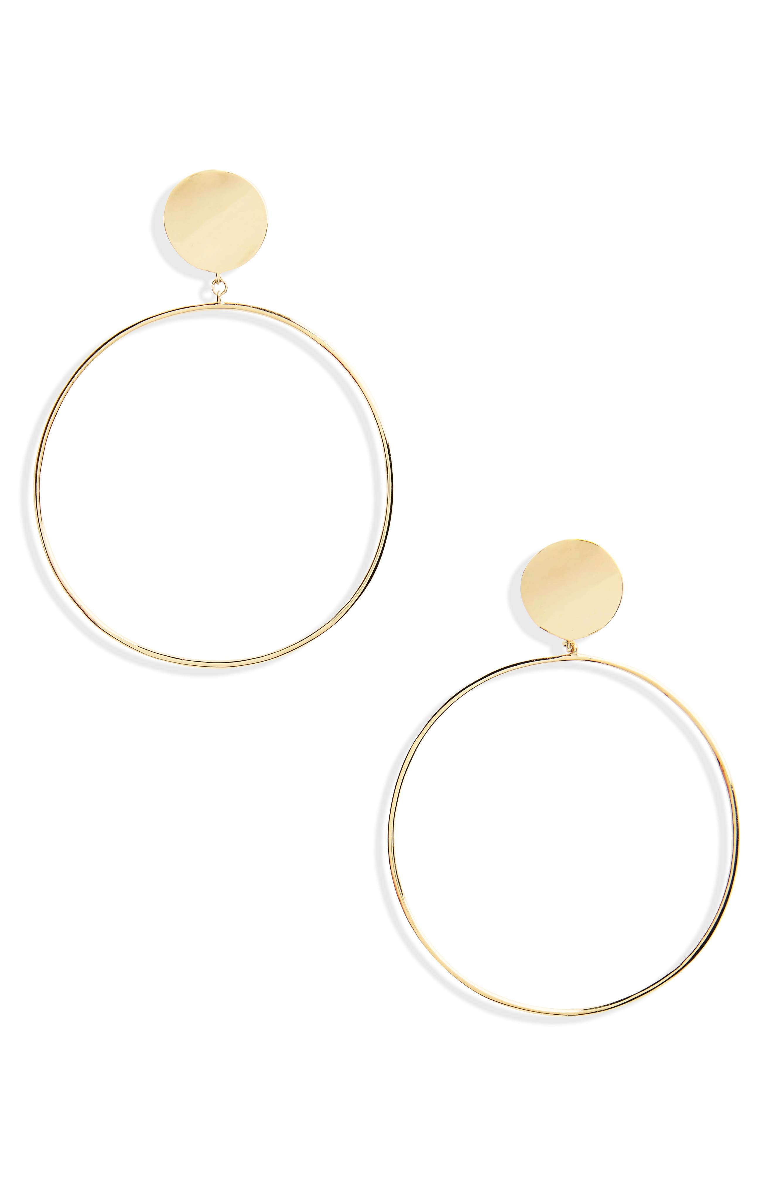Front Hoop Earrings,                         Main,                         color, Yellow Gold