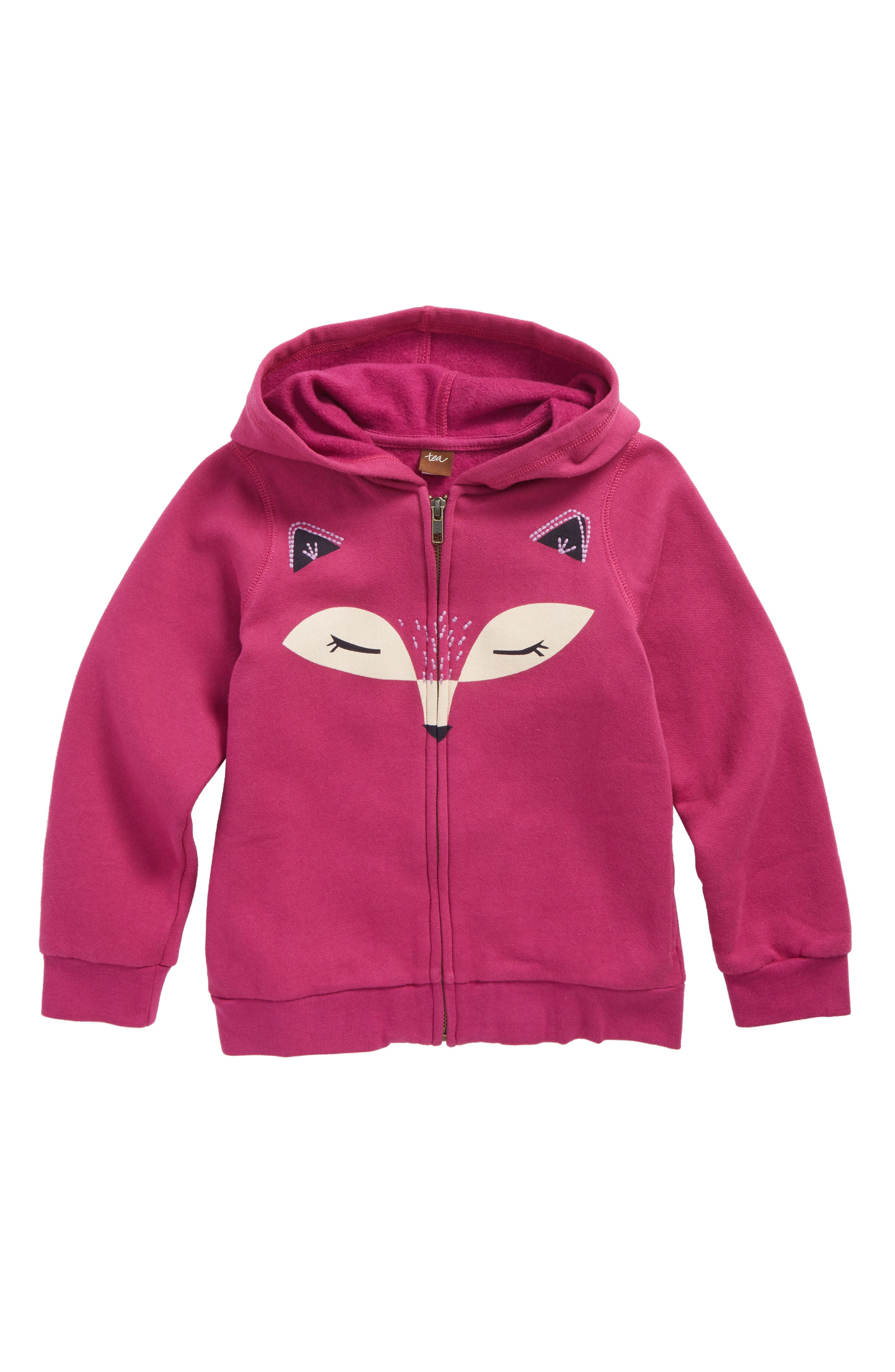 Alternate Image 1 Selected - Tea Collection Fox Face Zip Hoodie (Toddler Girls, Little Girls & Big Girls)