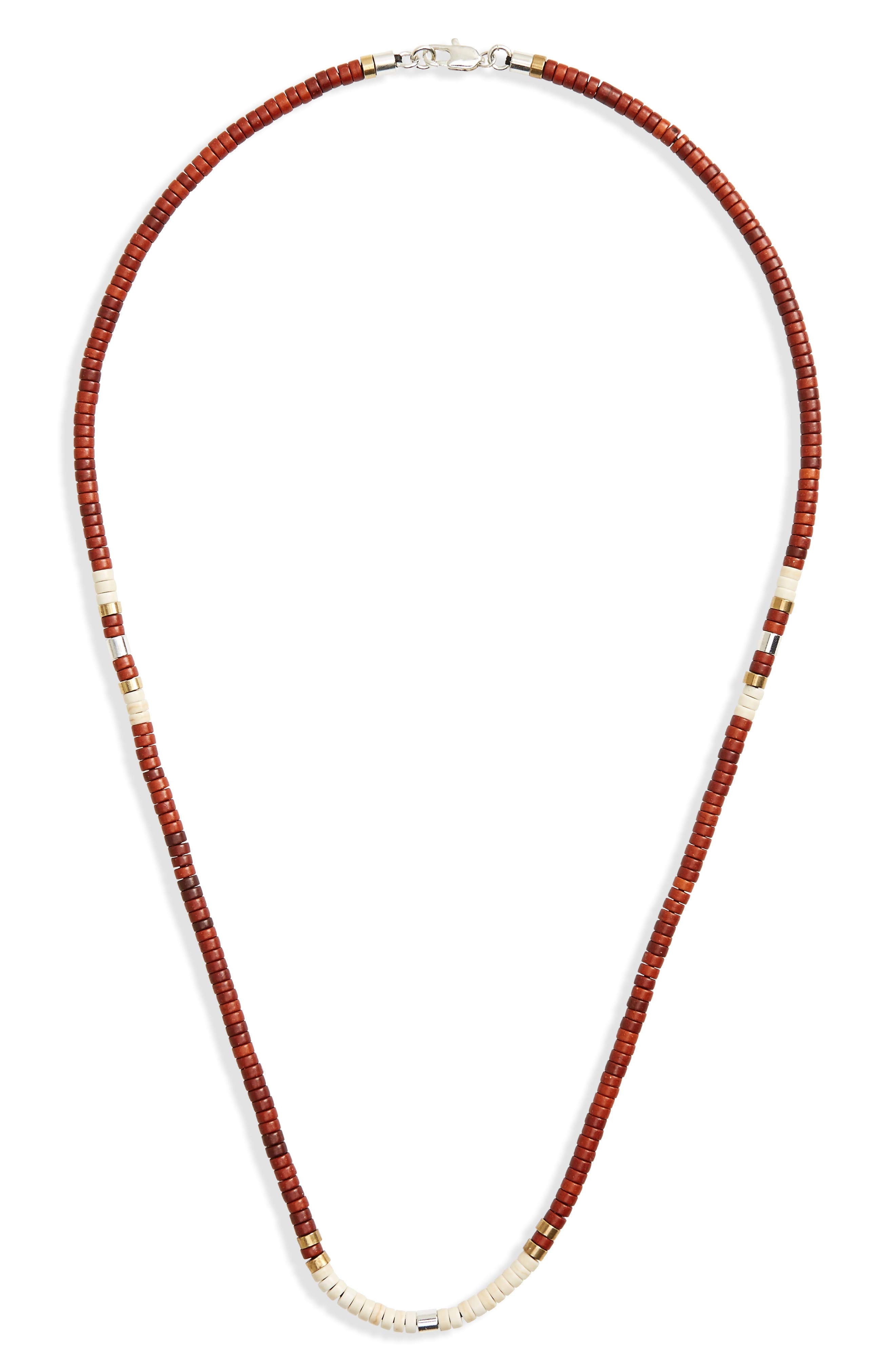Disc Turquoise Bead Necklace,                         Main,                         color, Red
