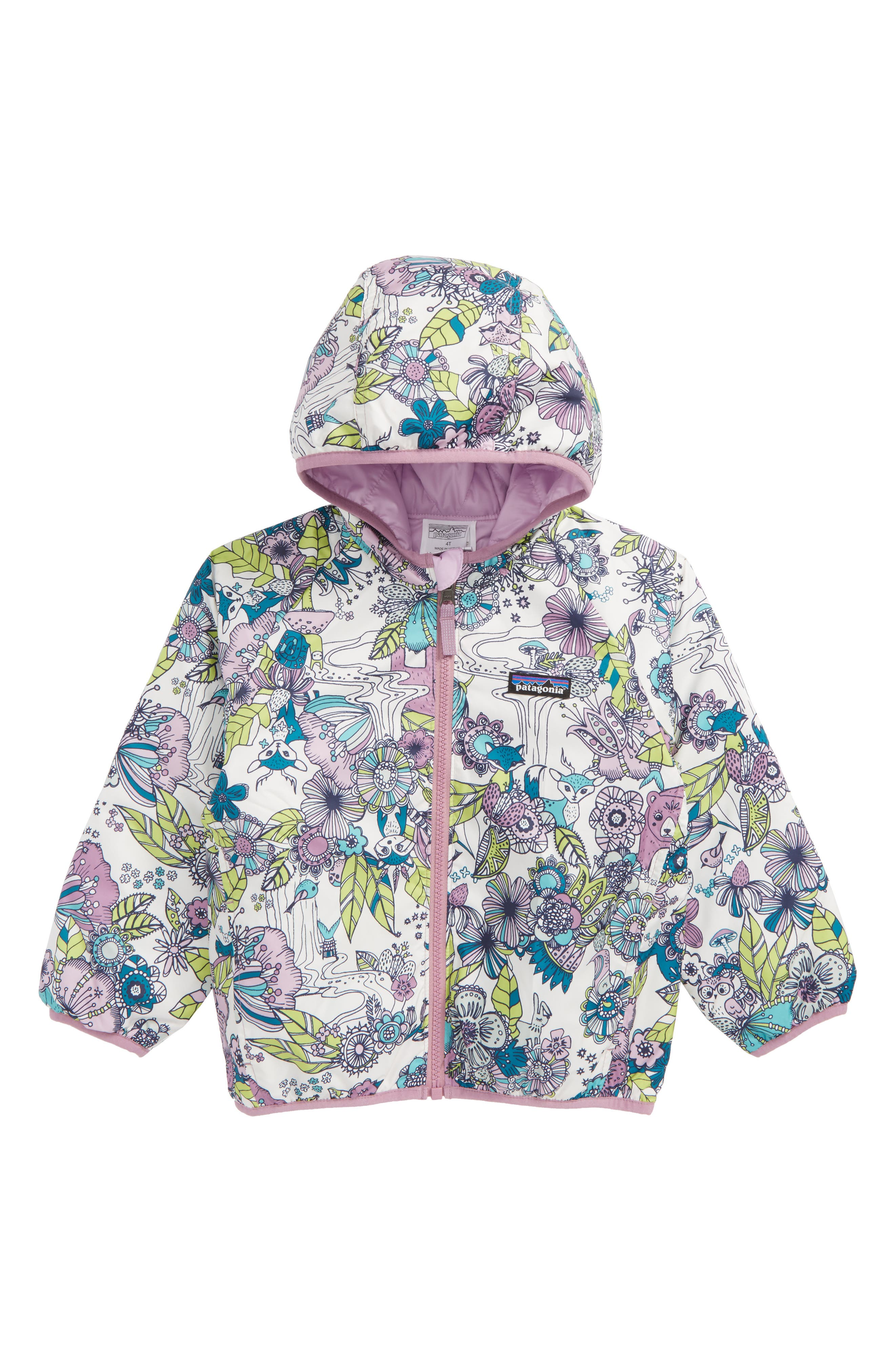 Patagonia 'Puff-Ball' Water Resistant Reversible Hooded Jacket (Toddler Girls)