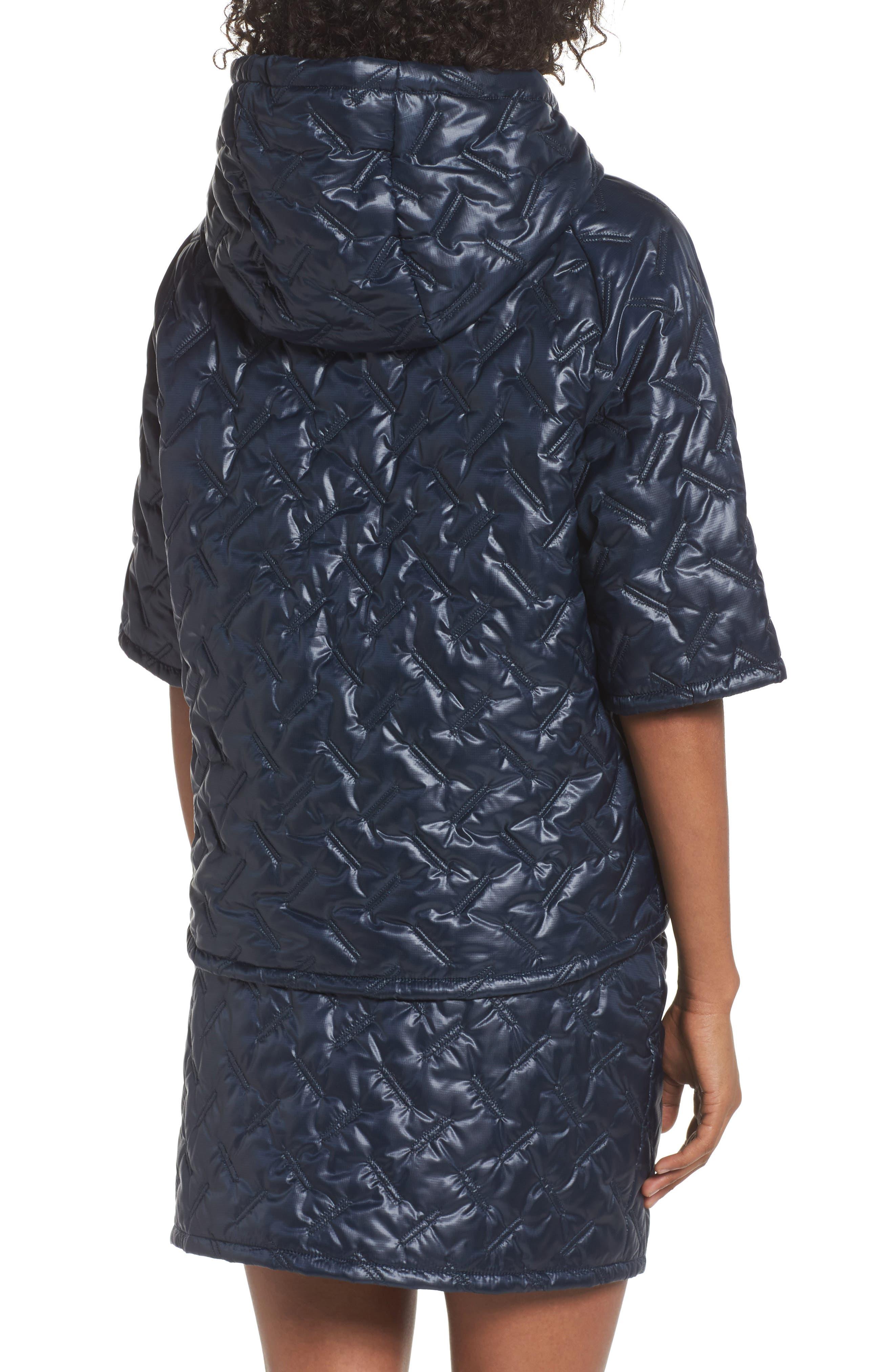 NikeLab Essentials Insulated Short Sleeve Women's Hoodie,                             Alternate thumbnail 2, color,                             Dark Obsidian/ Black