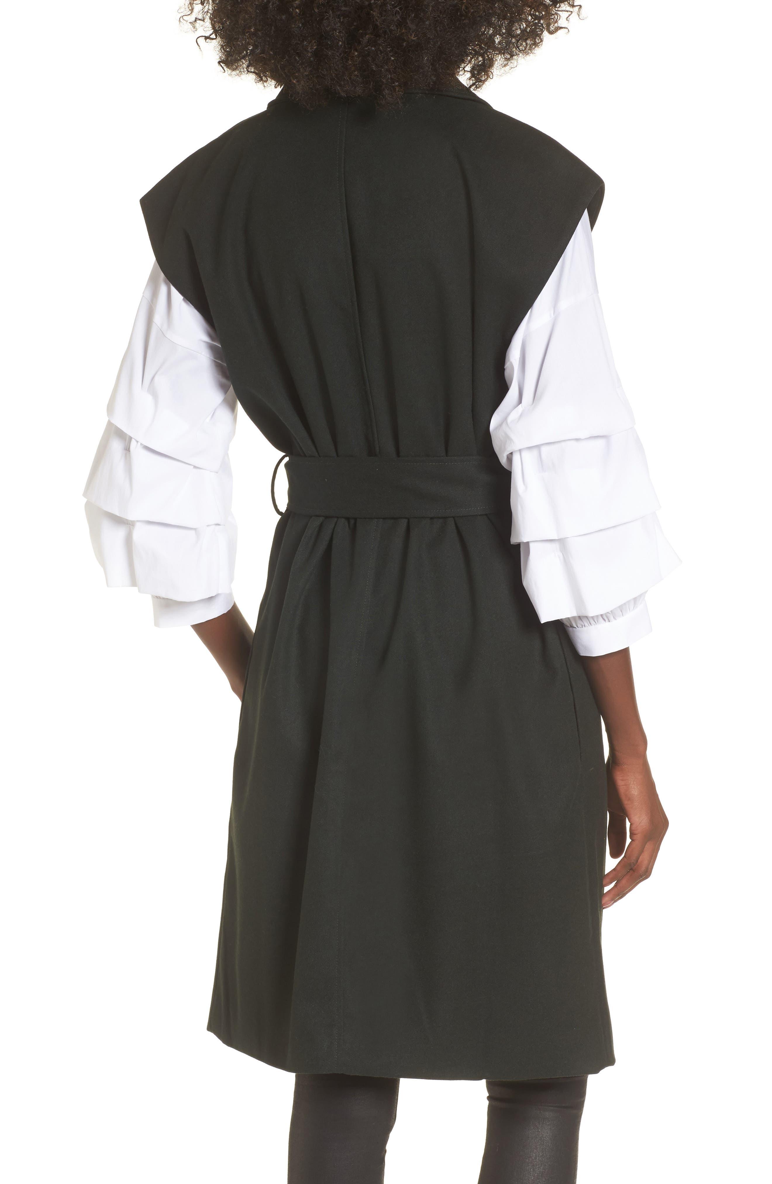 Belted Longline Vest,                             Alternate thumbnail 2, color,                             Forest