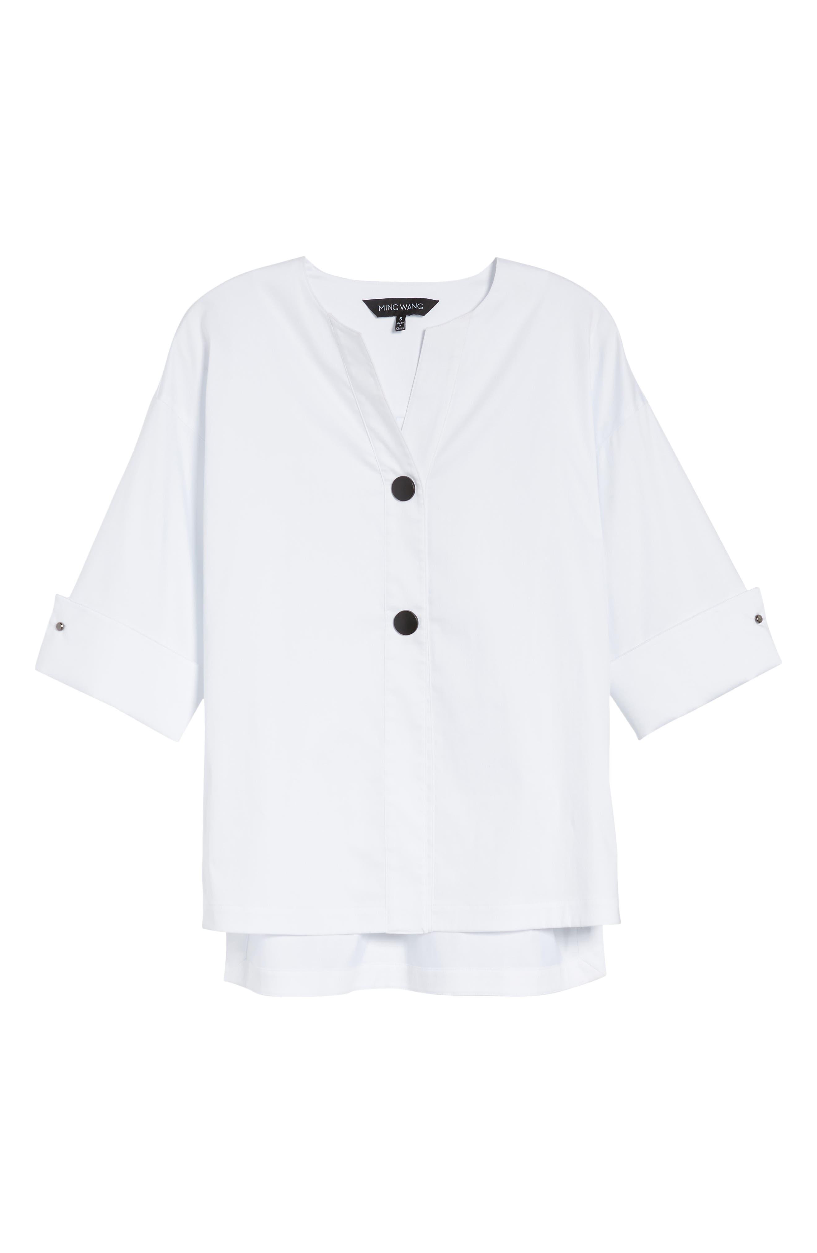 Woven Shirt Jacket,                             Alternate thumbnail 6, color,                             White