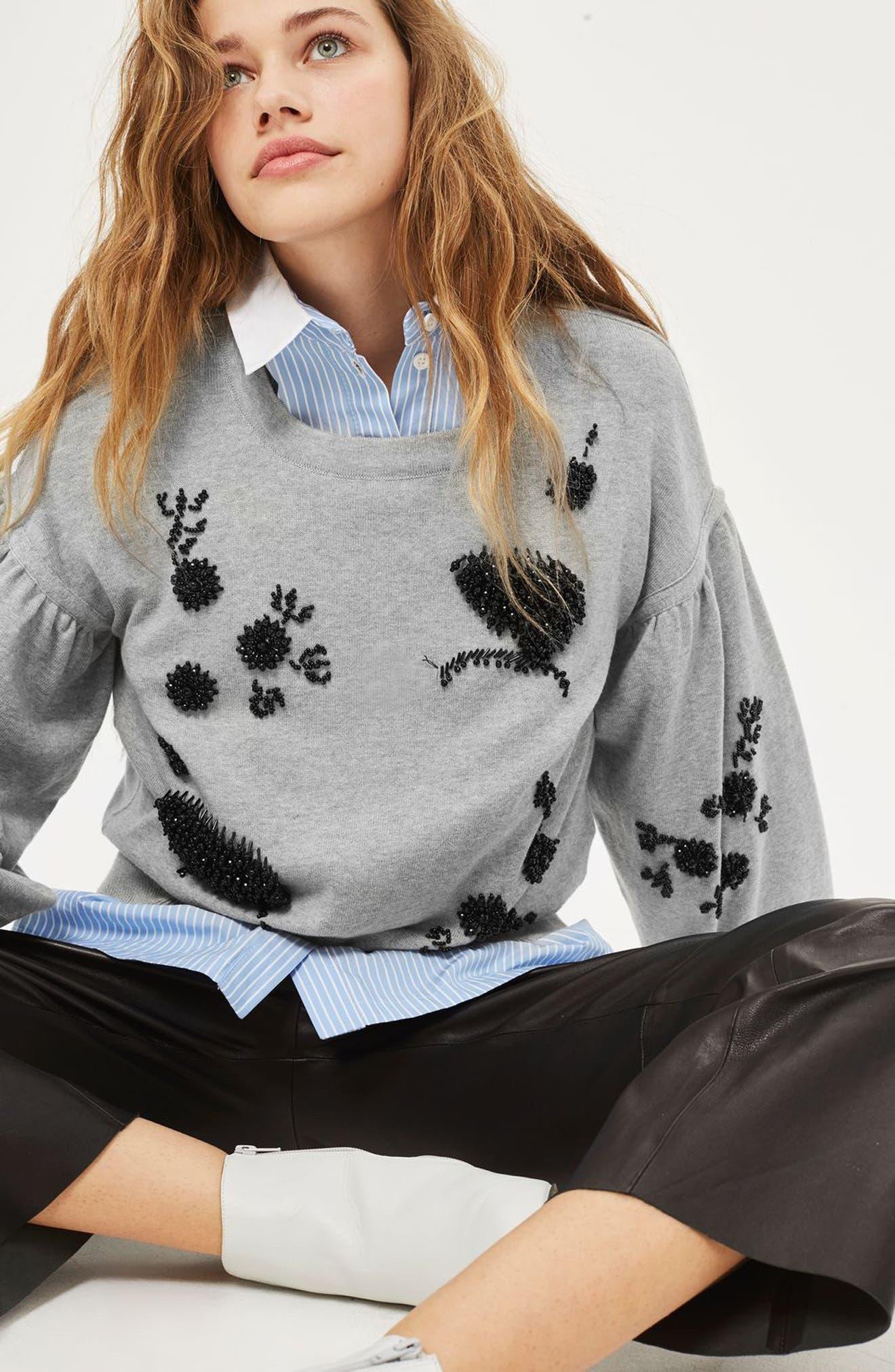 Beaded Balloon Sleeve Sweater,                             Alternate thumbnail 2, color,                             Grey Marl Multi