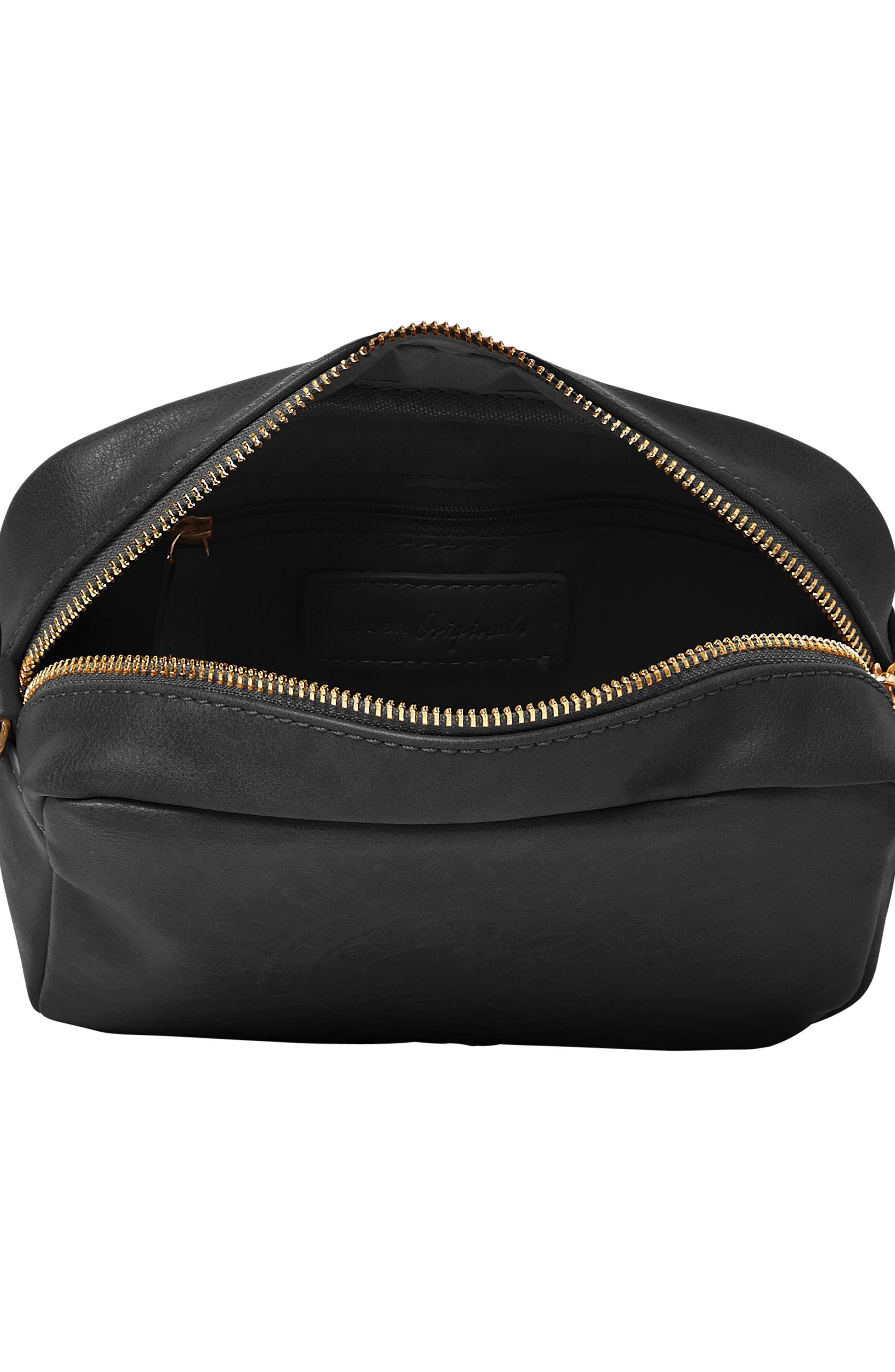 Wild Rose Embossed Vegan Leather Shoulder Bag,                             Alternate thumbnail 3, color,                             Black