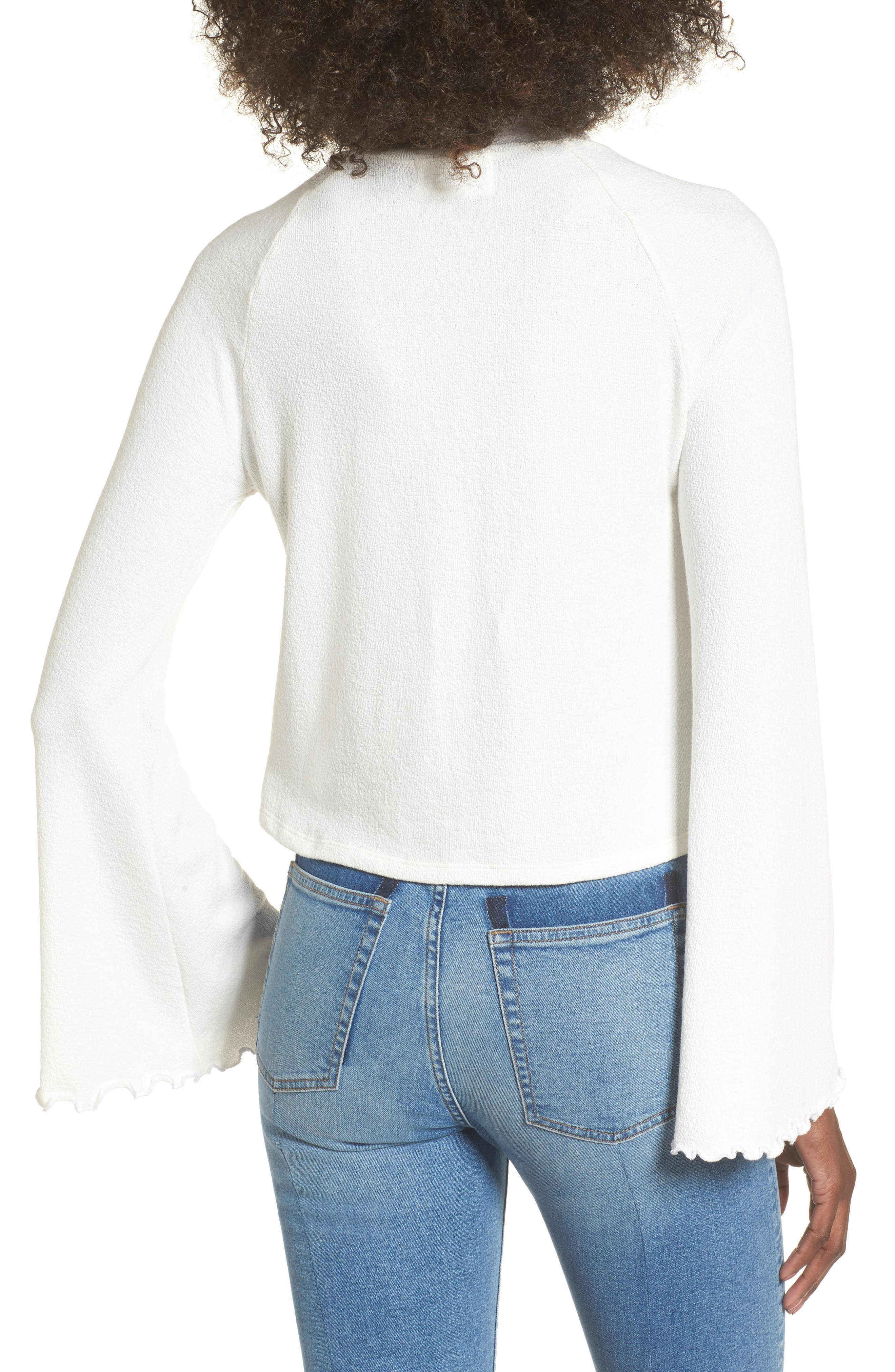 Knit Bell Sleeve Top,                             Alternate thumbnail 2, color,                             White
