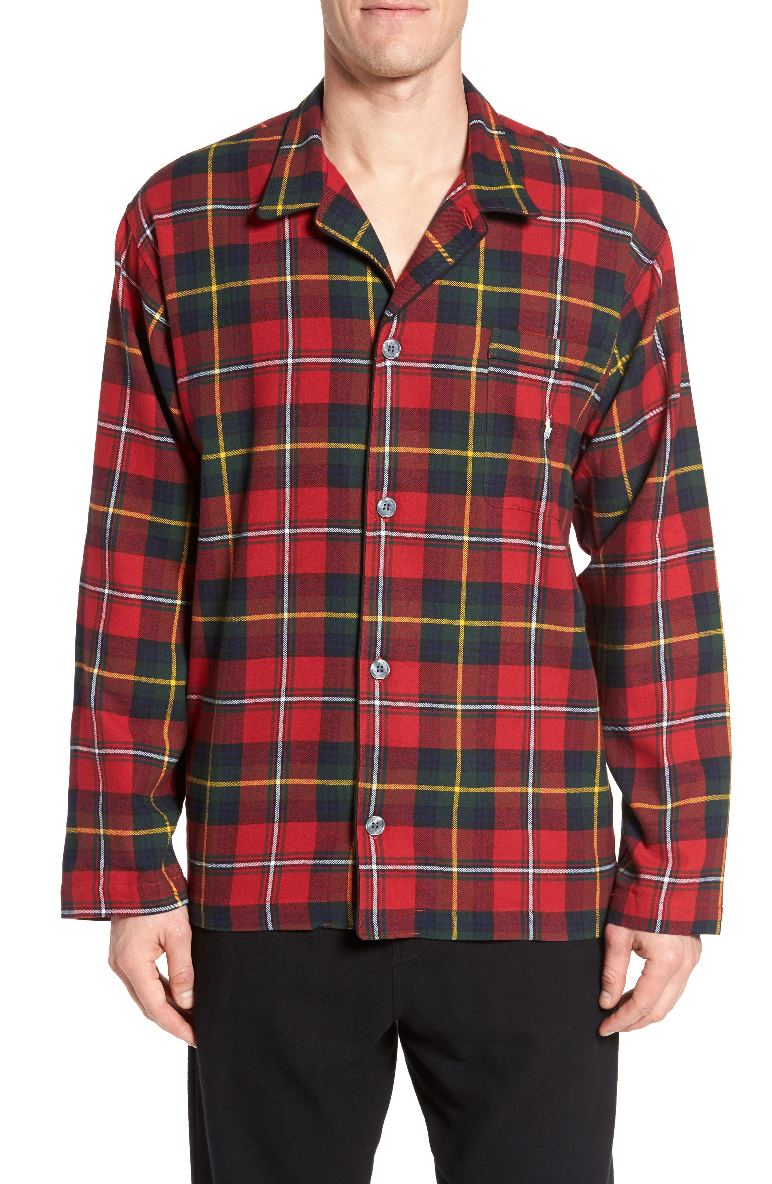 Polo Ralph Lauren Flannel Pajama Shirt,                             Main thumbnail 1, color,                             Andrew Plaid/ Black/ Cream