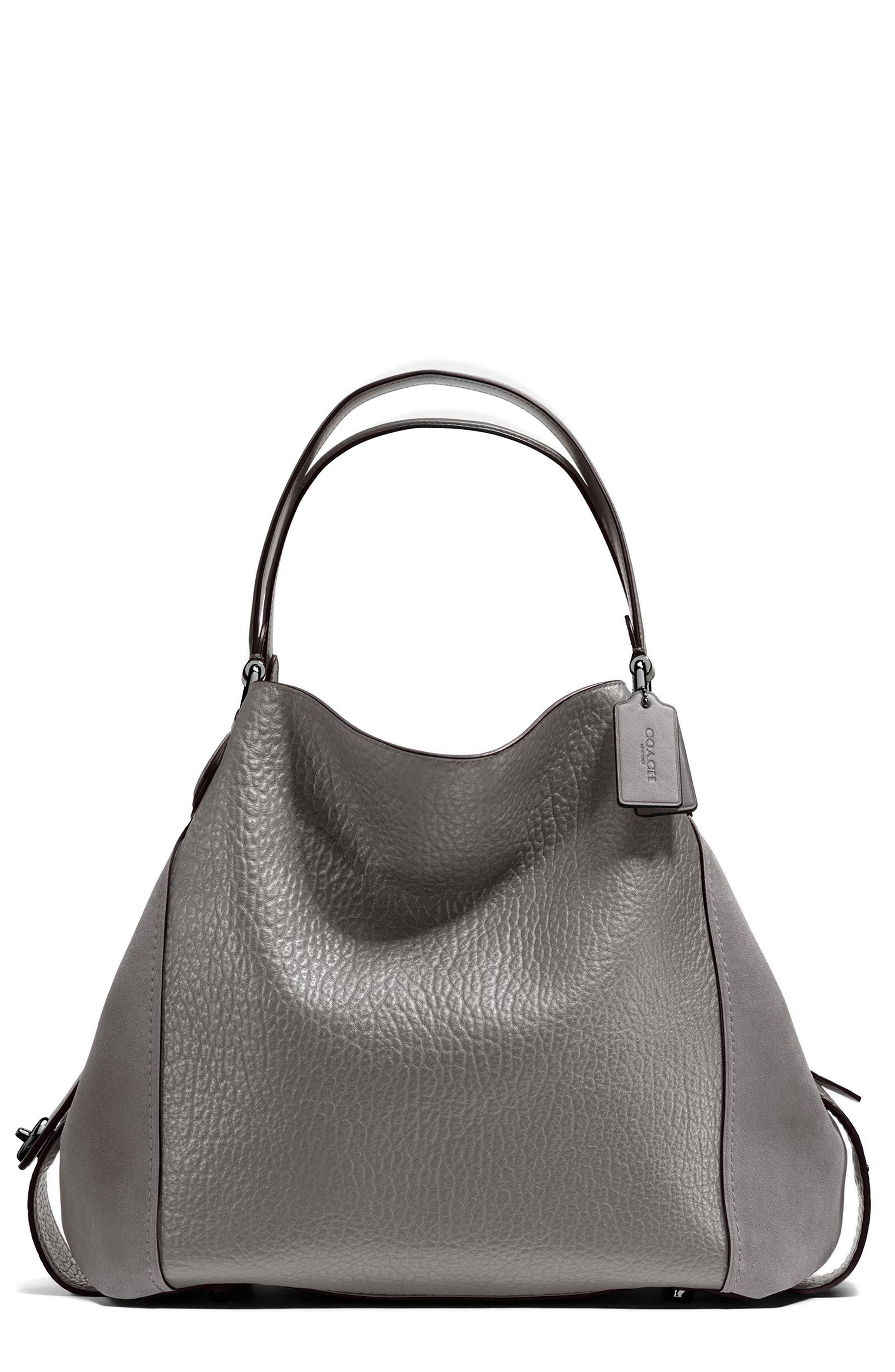 Edie 42 Leather & Suede Shoulder Bag,                             Main thumbnail 1, color,                             Heather Grey