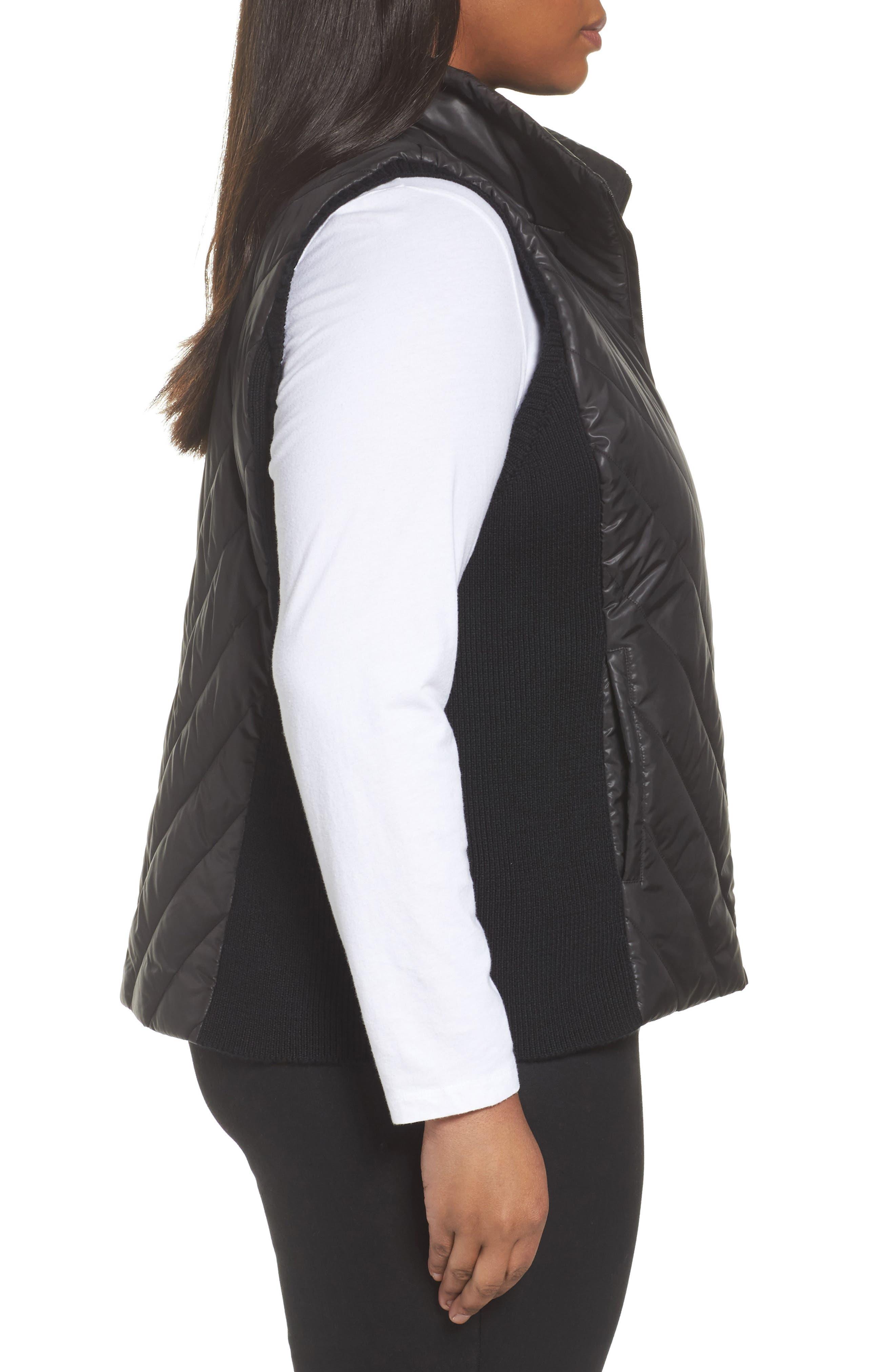 Merino Wool Trim Puffer Vest,                             Alternate thumbnail 3, color,                             Black