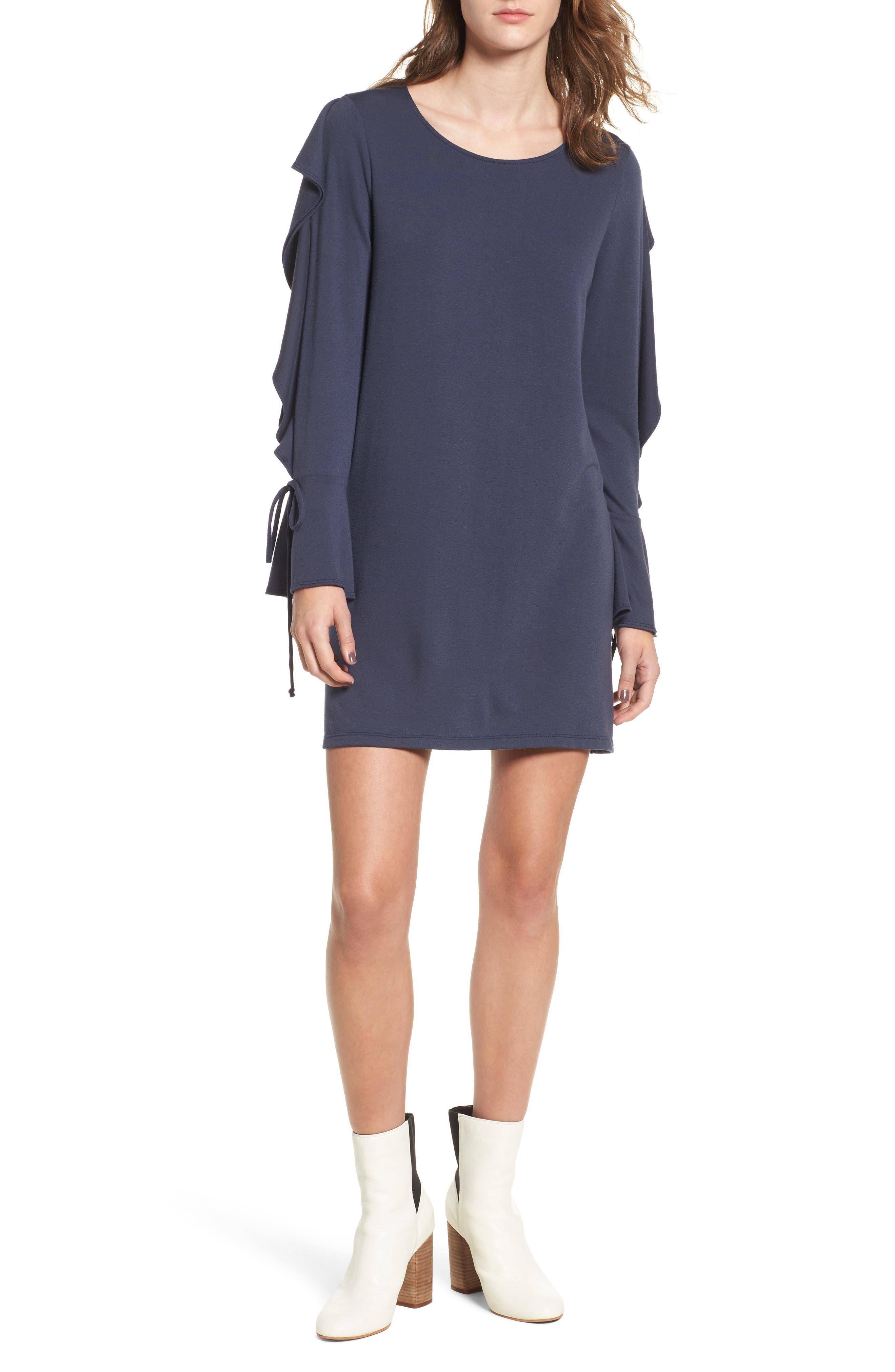 Ruffle Sleeve Sweatshirt Dress,                         Main,                         color, Iron