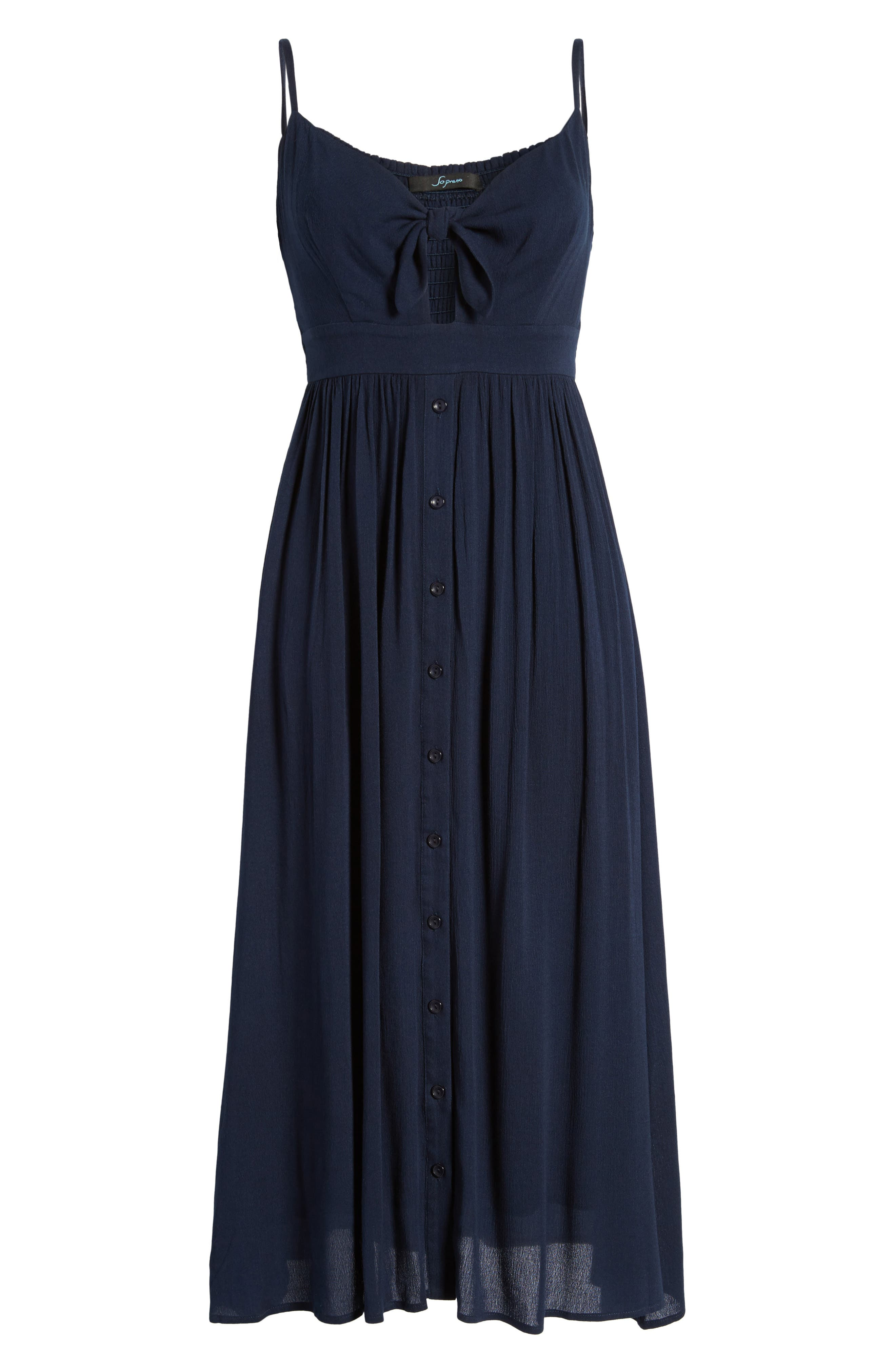 Tie Front Midi Dress,                             Alternate thumbnail 6, color,                             Navy