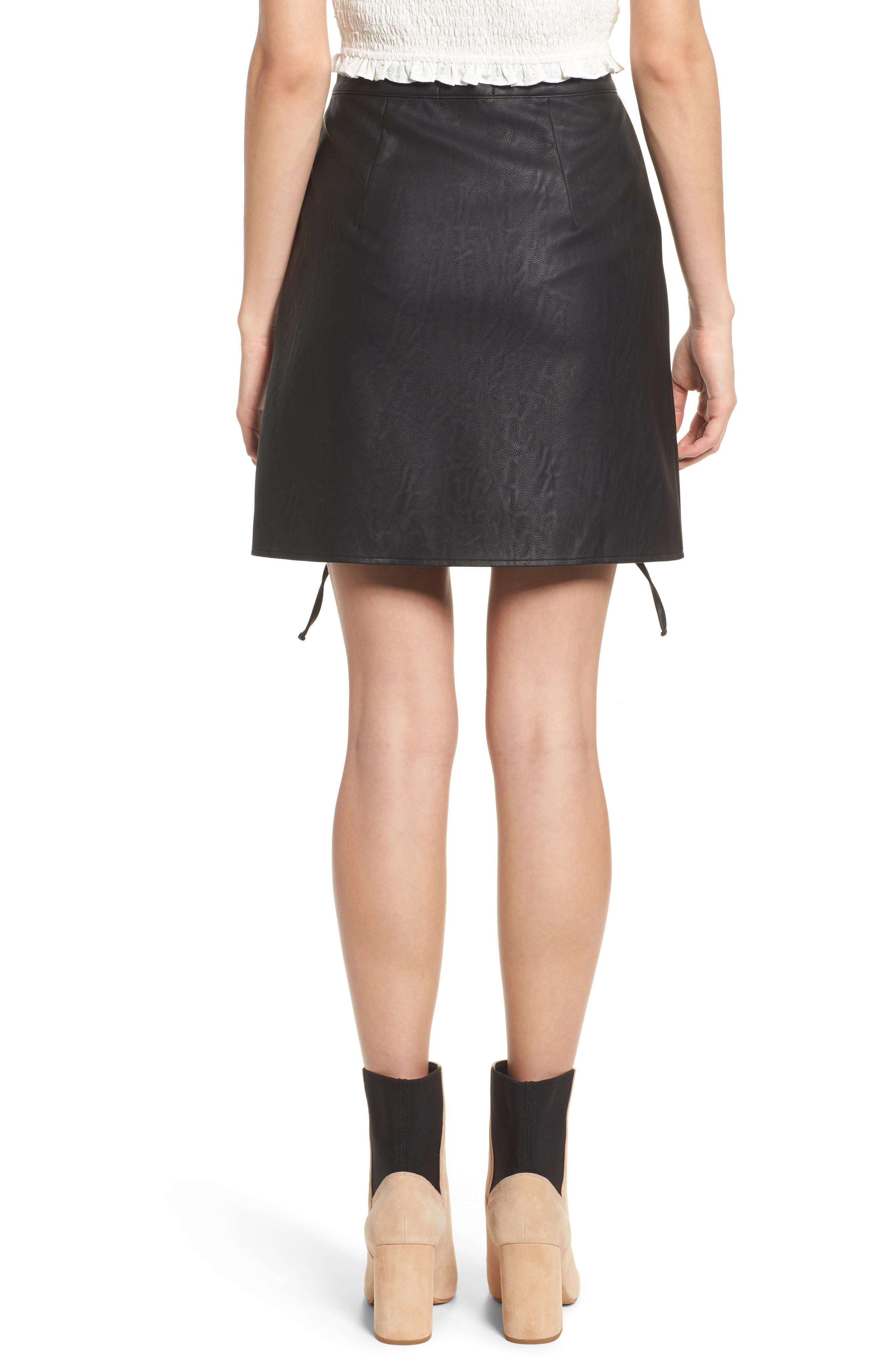 Dakota Lace Up Faux Leather Skirt,                             Alternate thumbnail 3, color,                             Black