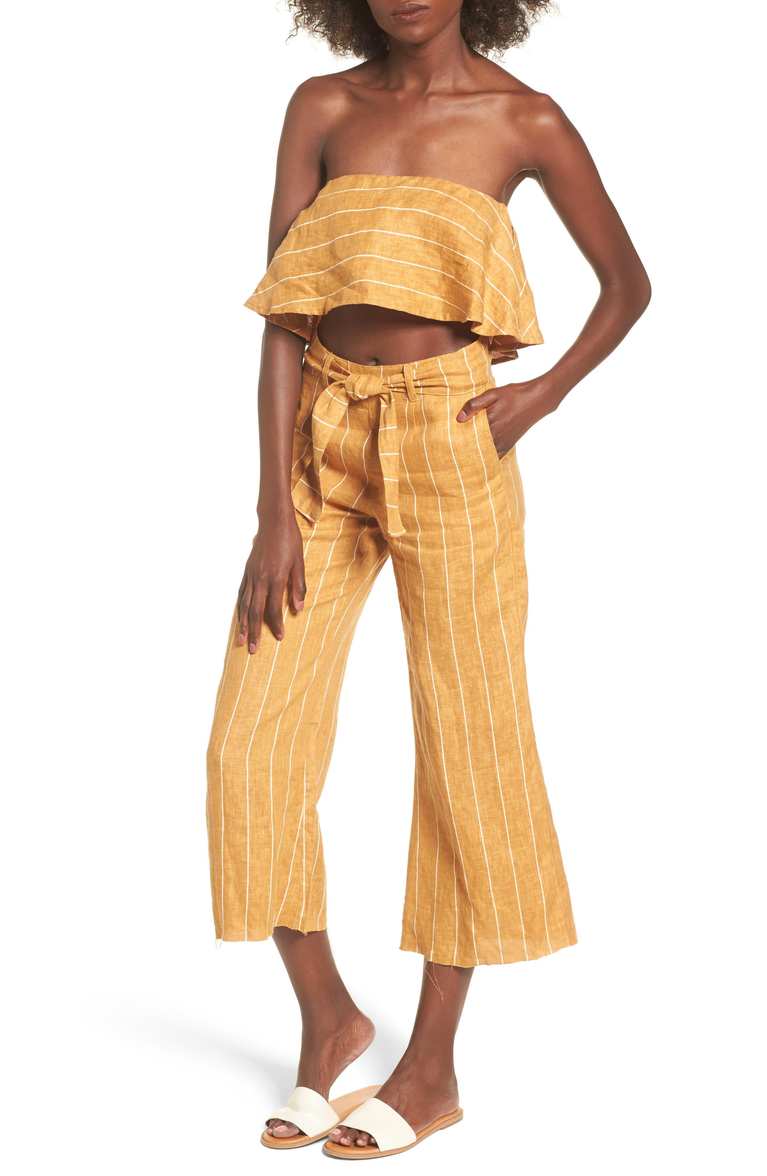 Solana Stripe Strapless Linen Crop Top,                             Alternate thumbnail 2, color,                             Copenhagen Stripe