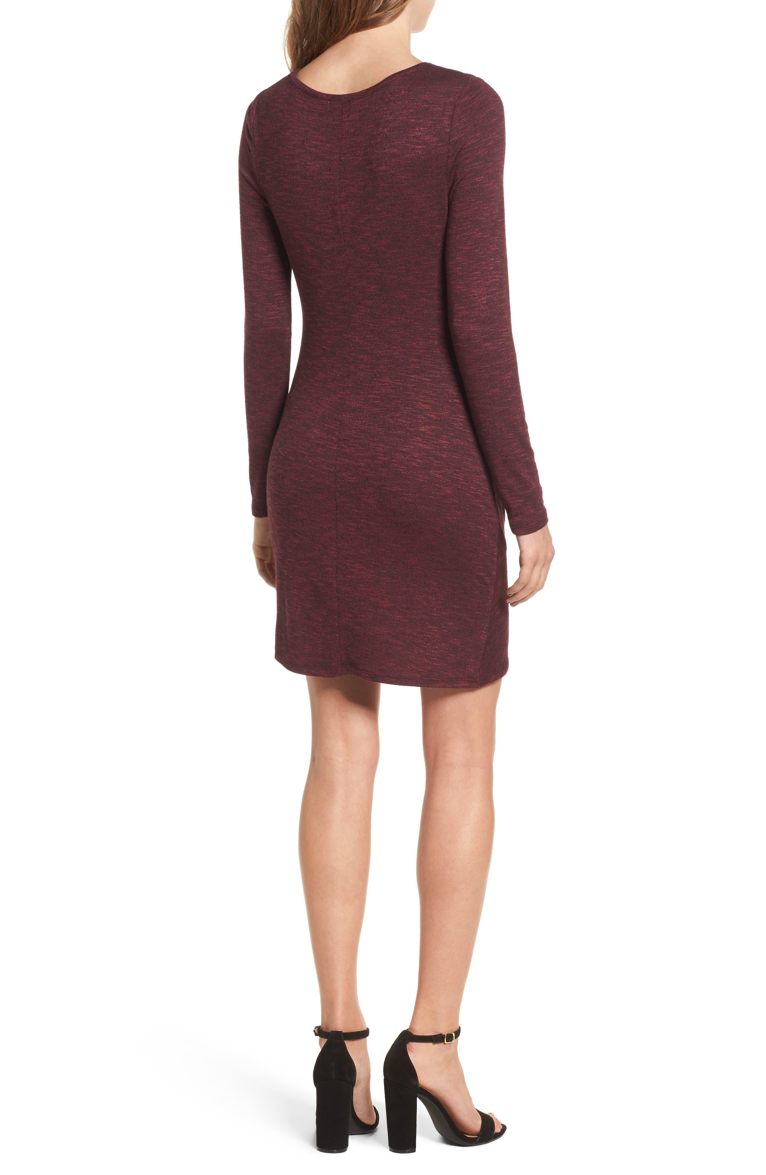 Ruched Knit Dress,                             Alternate thumbnail 2, color,                             Zinfandel