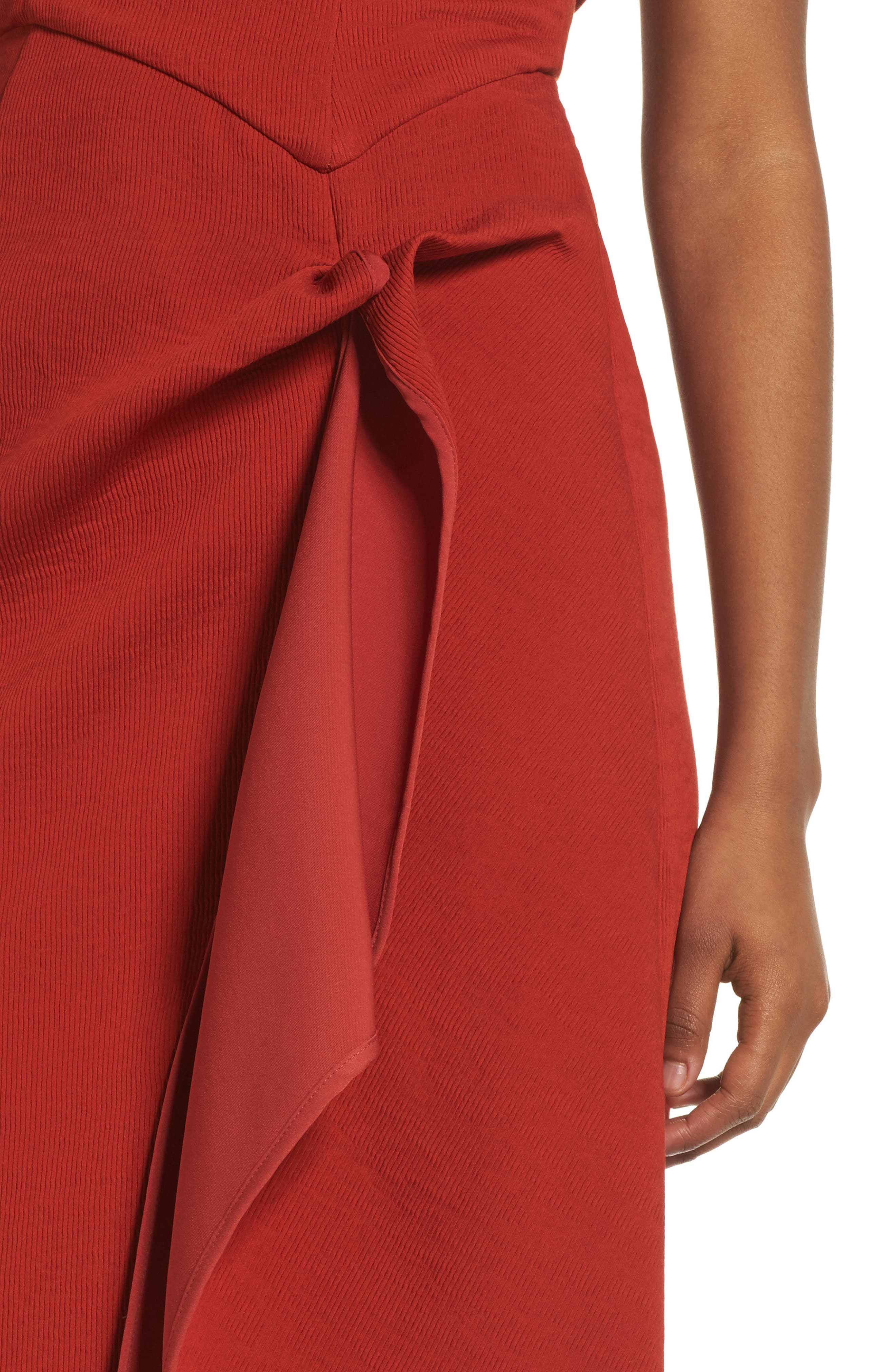 Fluidity Strapless Maxi Dress,                             Alternate thumbnail 5, color,                             Red