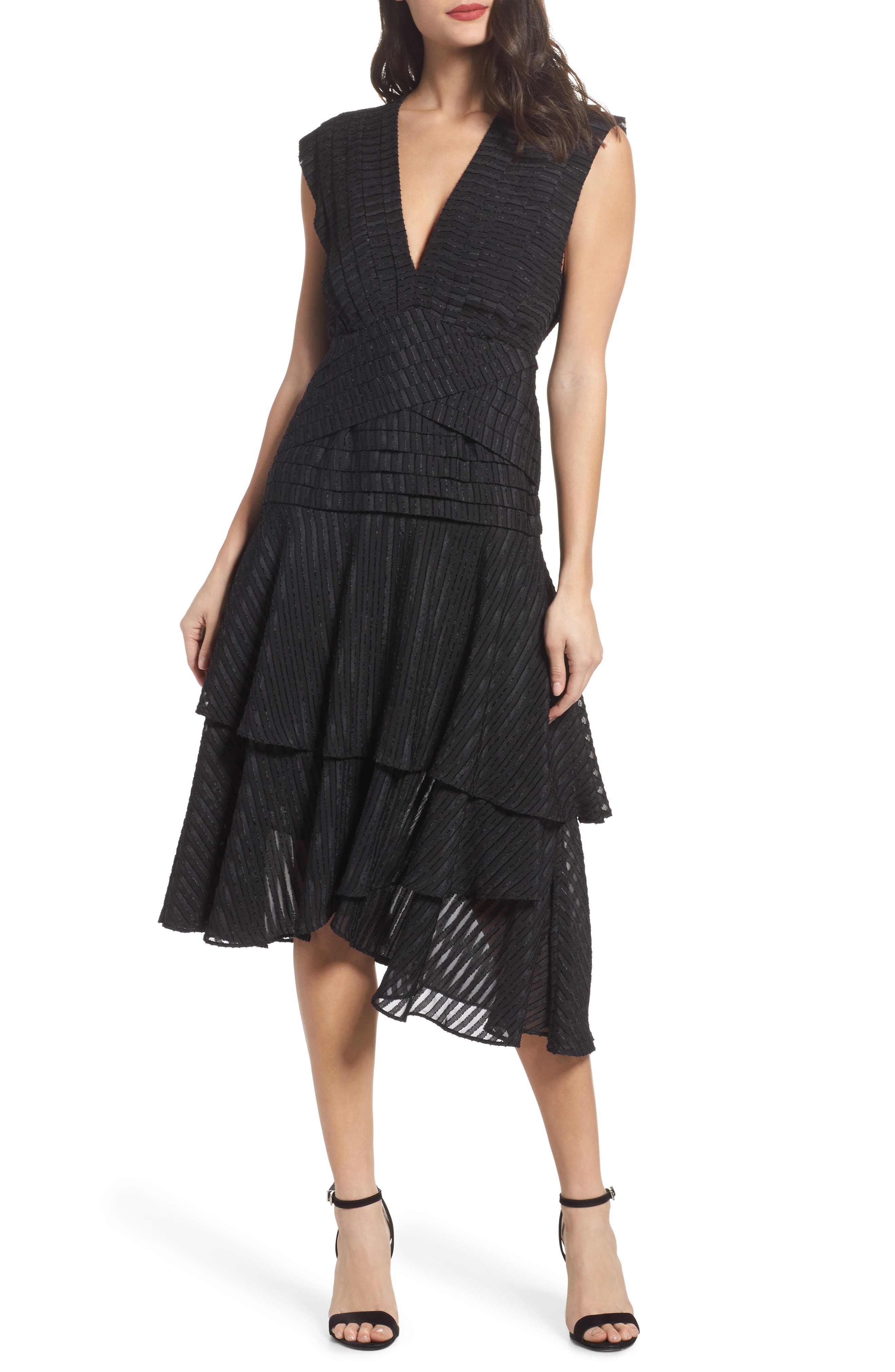 Waterfall Burnout Stripe Dress,                         Main,                         color, Black