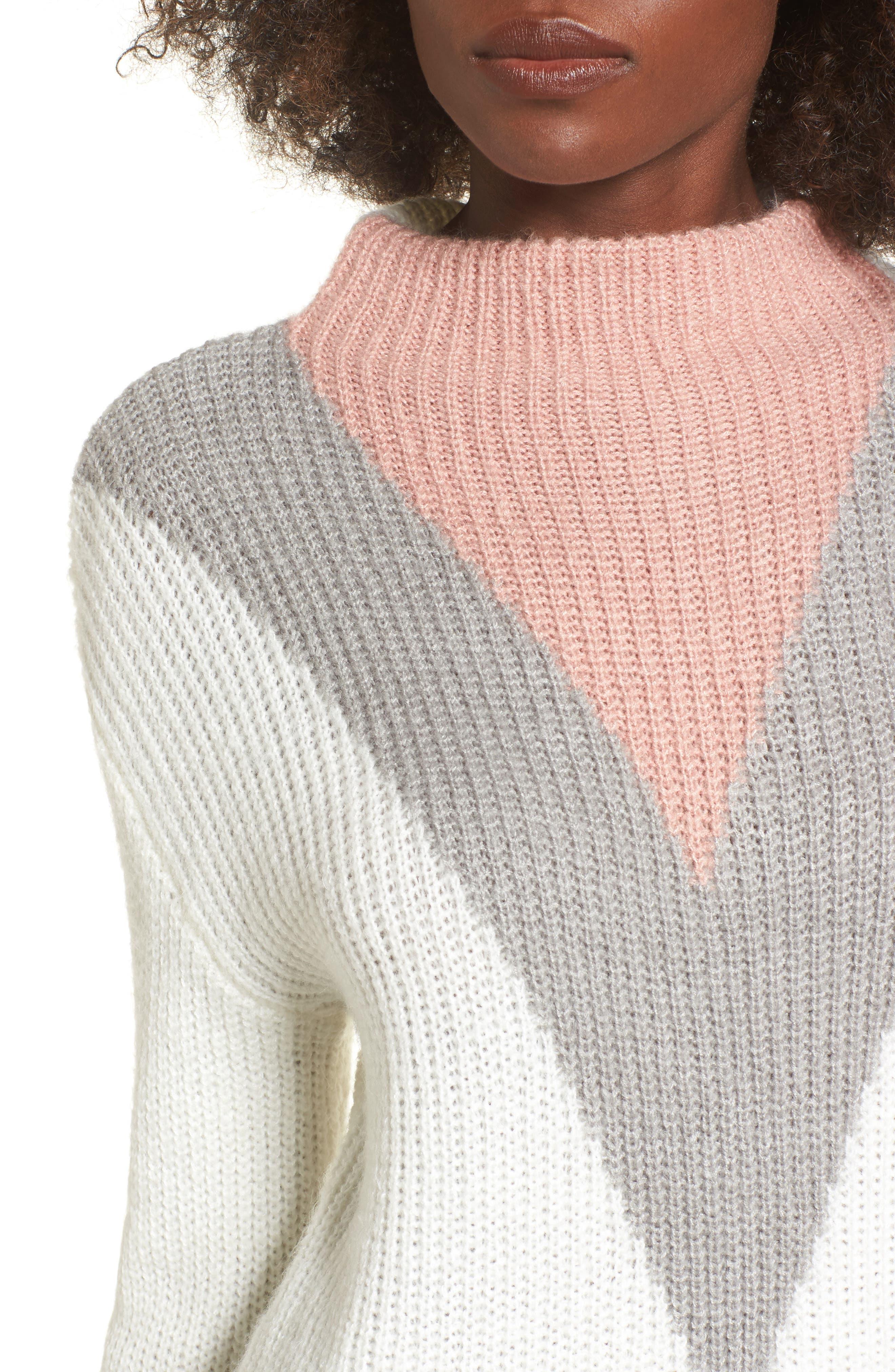 Tri-Color Après Ski Sweater,                             Alternate thumbnail 4, color,                             Ivory