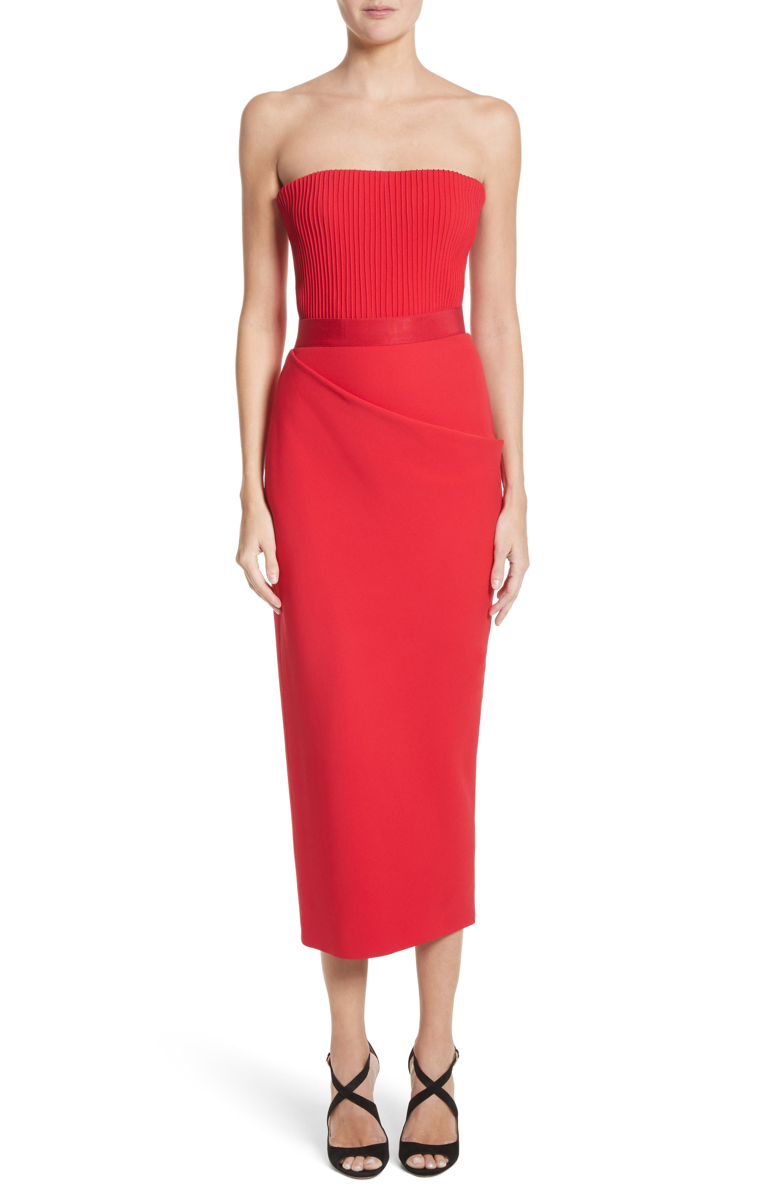 Ribbed Bodice Midi Dress,                             Main thumbnail 1, color,                             Red