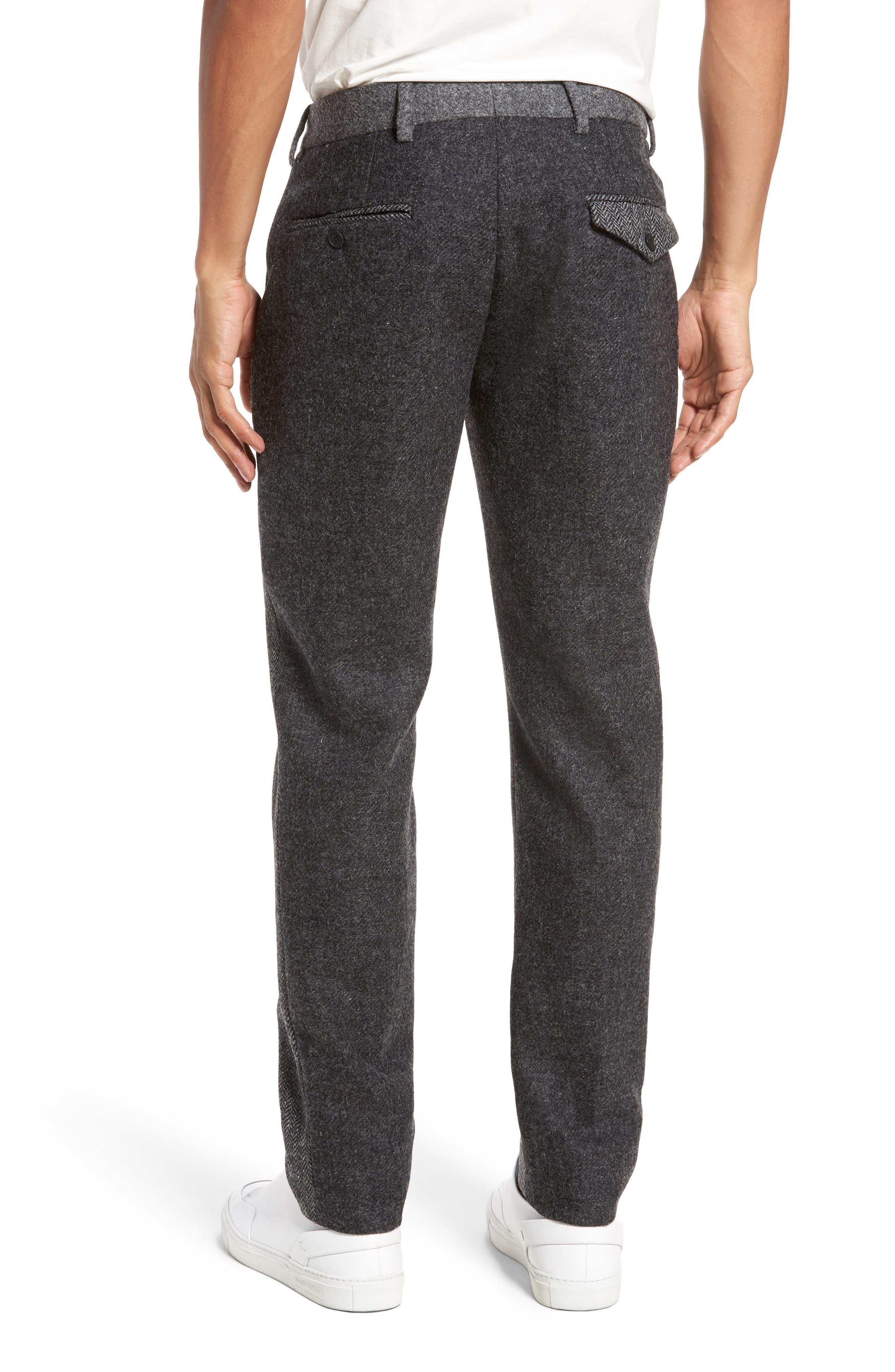 Patchwork Wool Trousers,                             Alternate thumbnail 2, color,                             Grey Melange