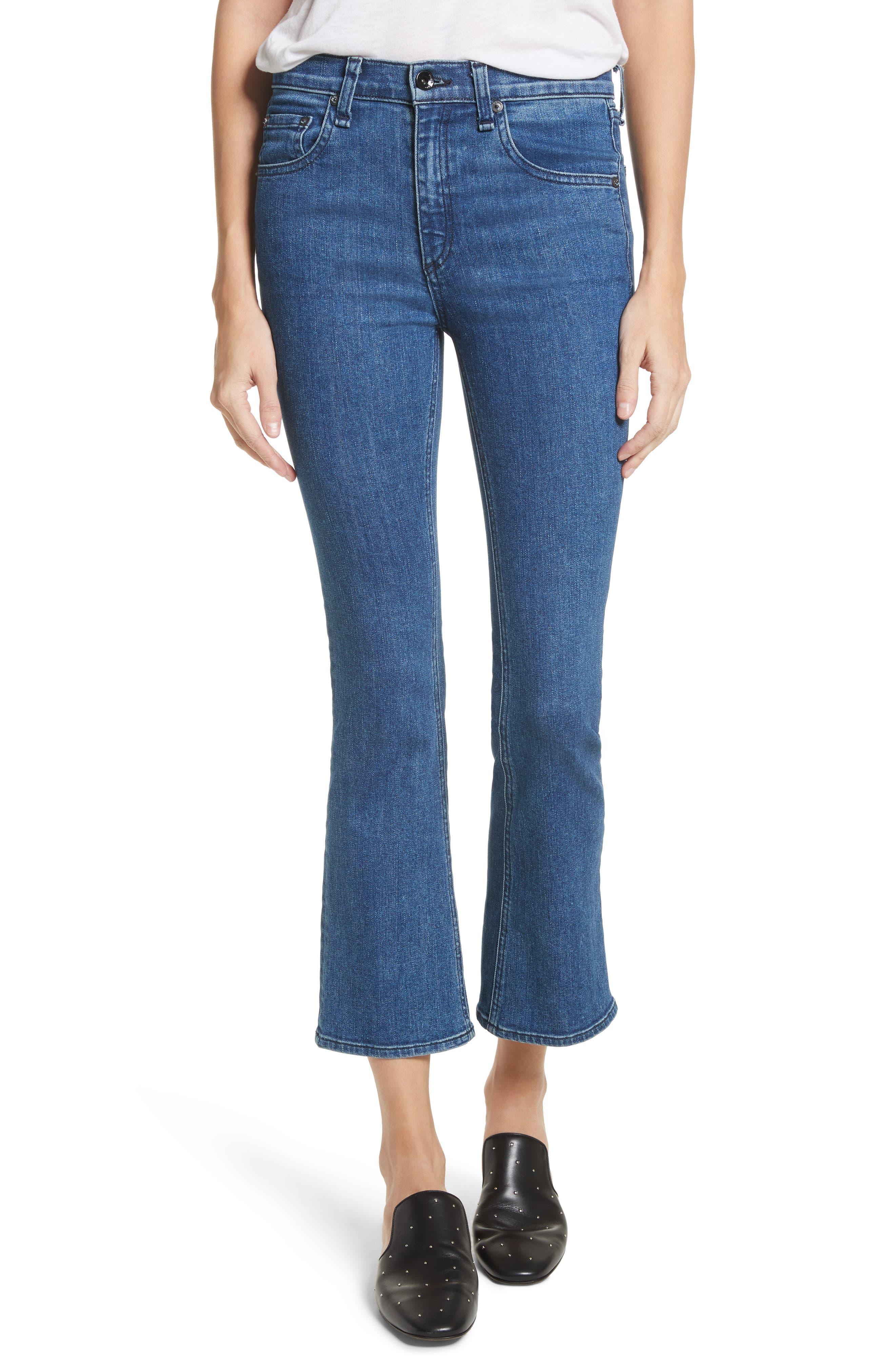 Main Image - rag & bone/JEAN Hana High Waist Crop Bootcut Jeans (Clean El)