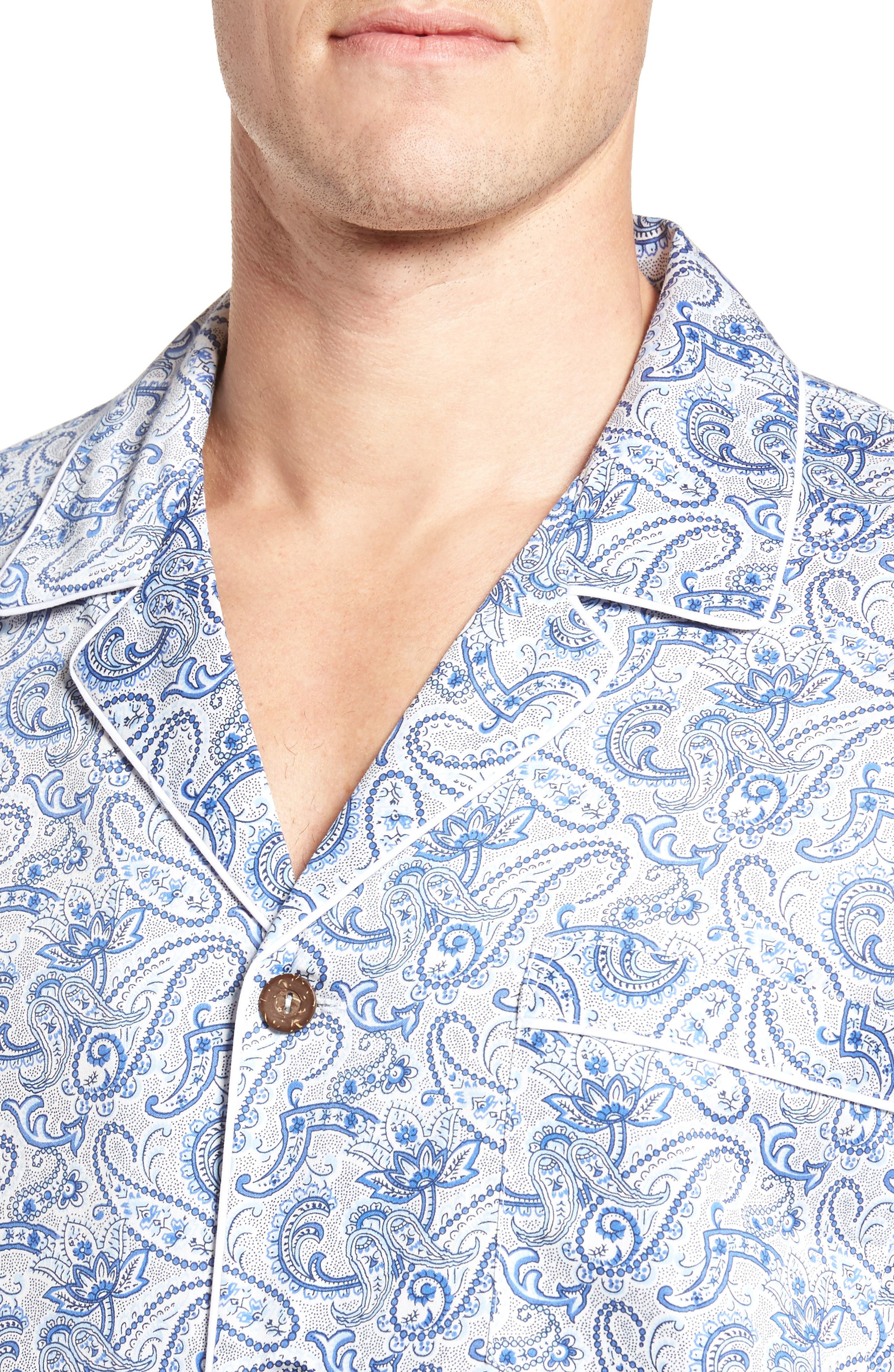 Sateen Pajamas,                             Alternate thumbnail 4, color,                             Blue Paisley