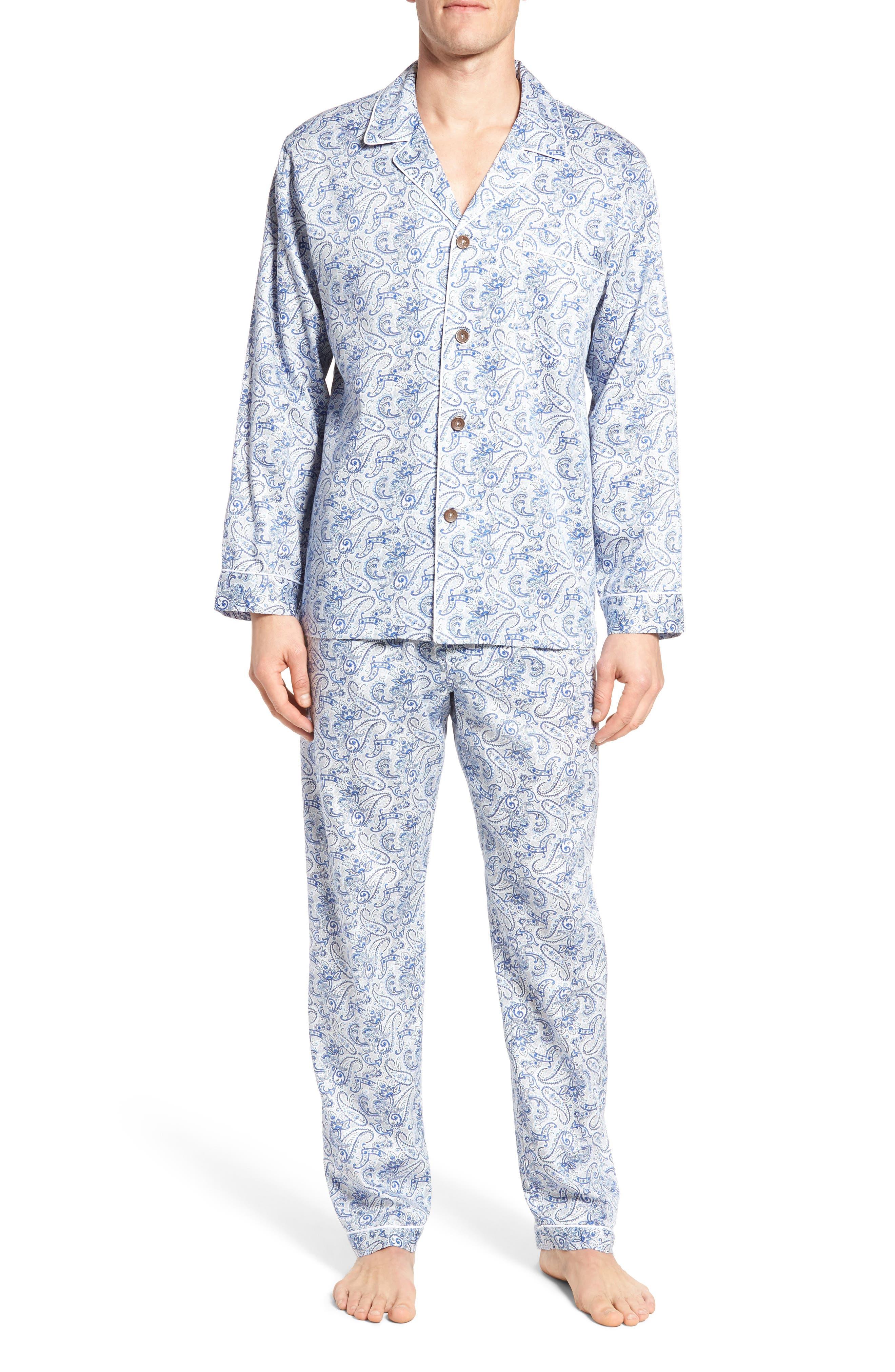 Sateen Pajamas,                             Main thumbnail 1, color,                             Blue Paisley