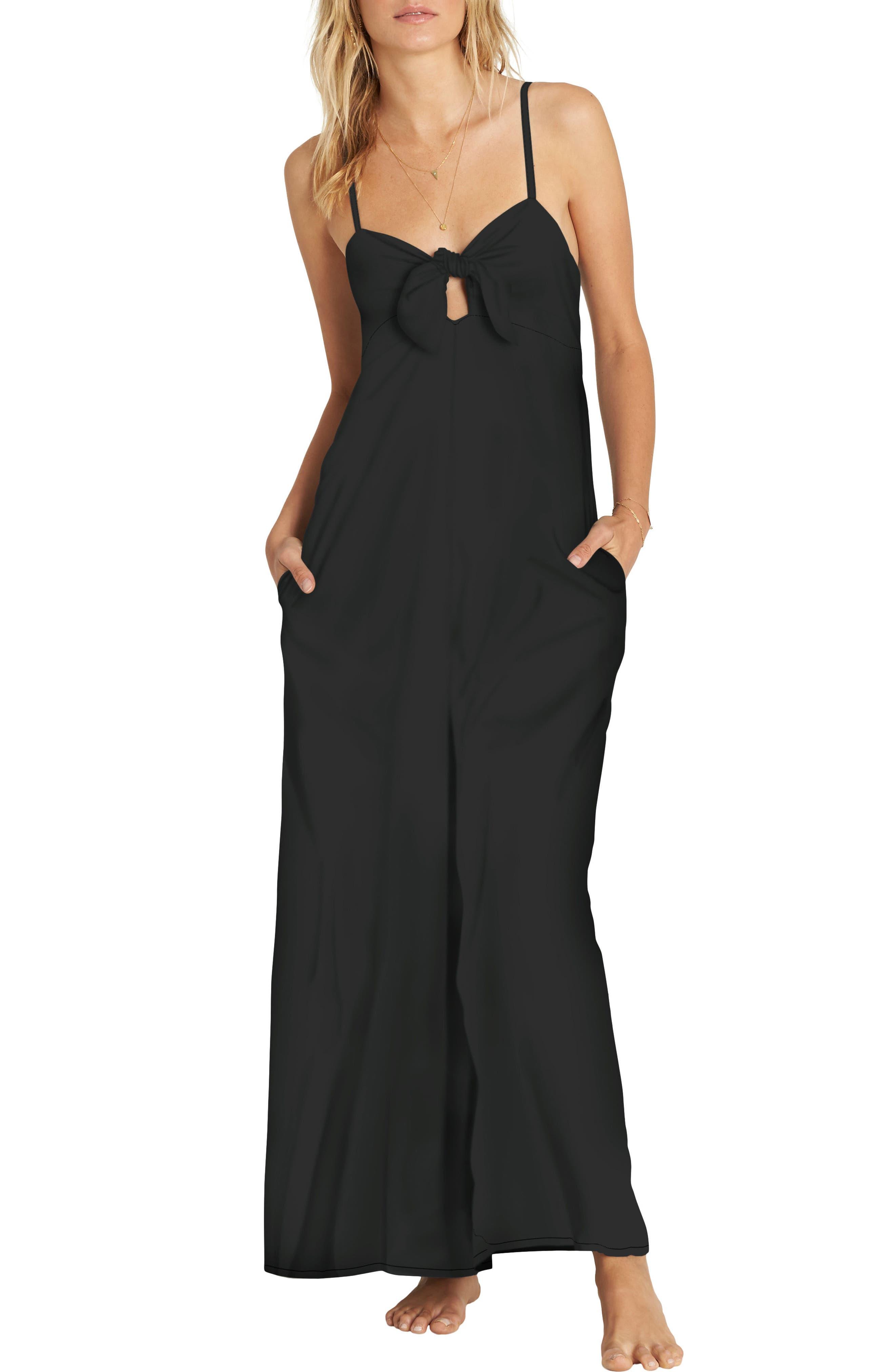 Twist 'N' Shout Tie Front Jumpsuit,                         Main,                         color, Black
