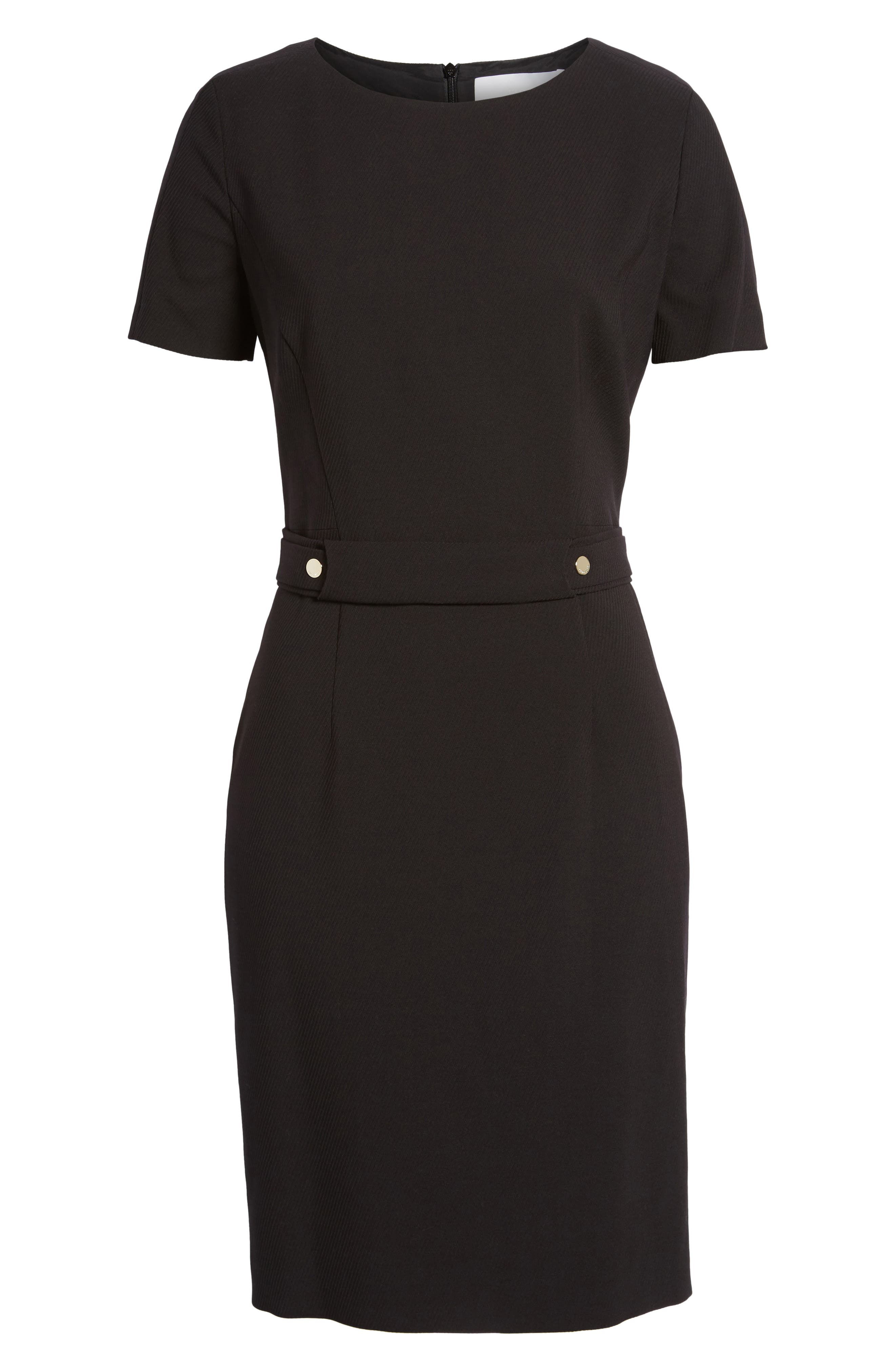 Desulea Stretch Wool Sheath Dress,                             Alternate thumbnail 6, color,                             Black