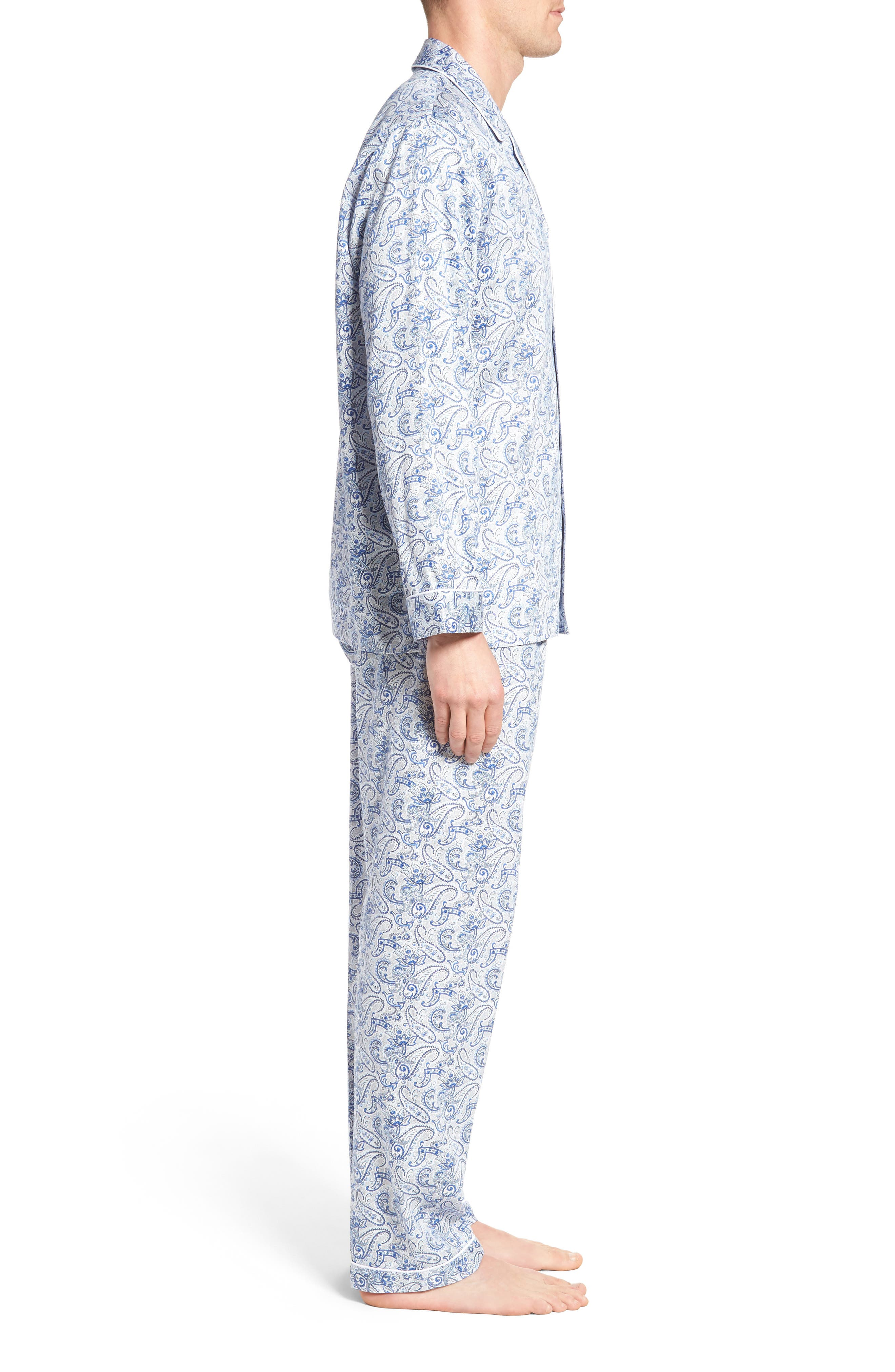Sateen Pajamas,                             Alternate thumbnail 3, color,                             Blue Paisley