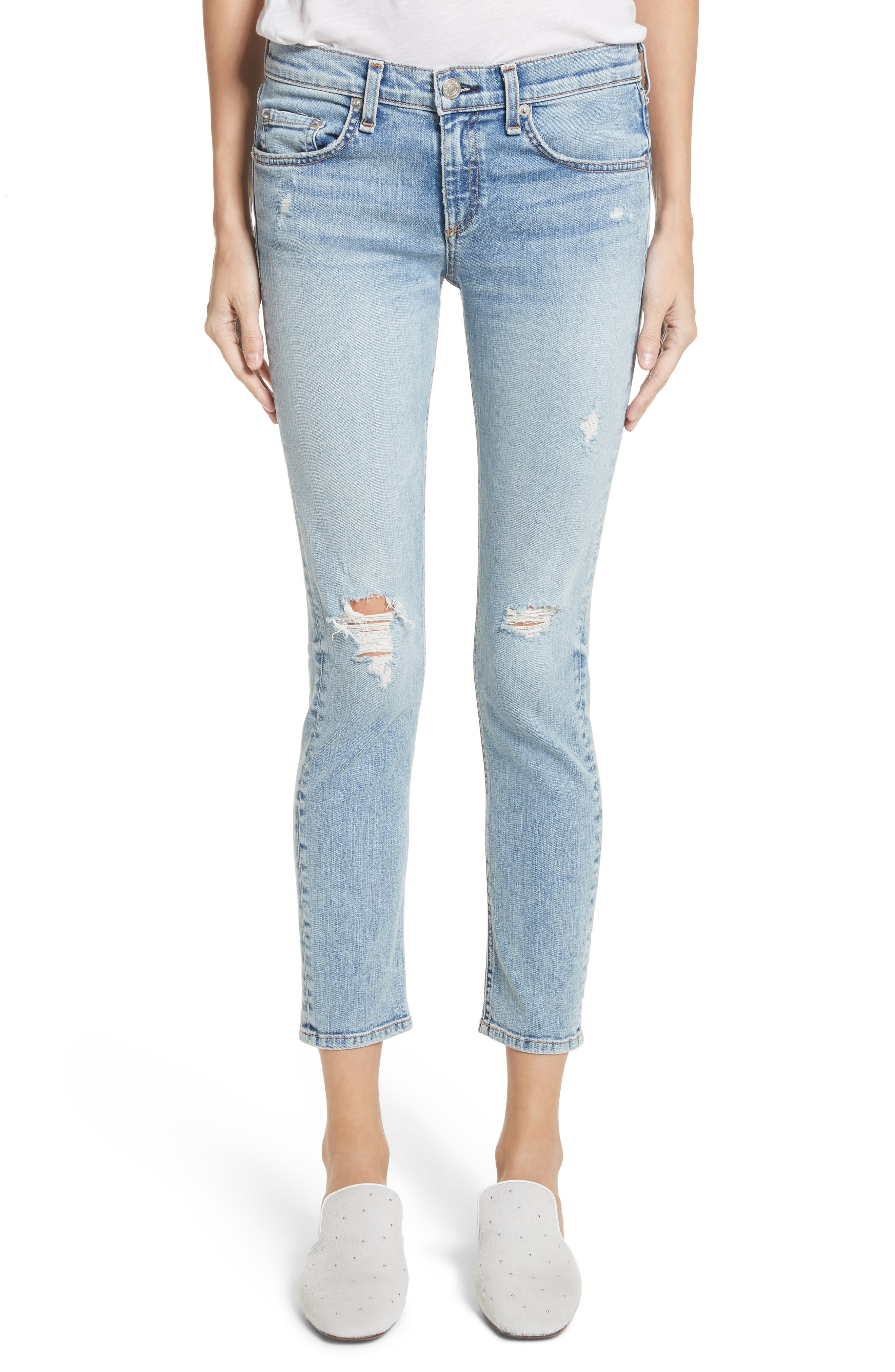 Main Image - rag & bone/JEAN Ankle Skinny Jeans (Double)