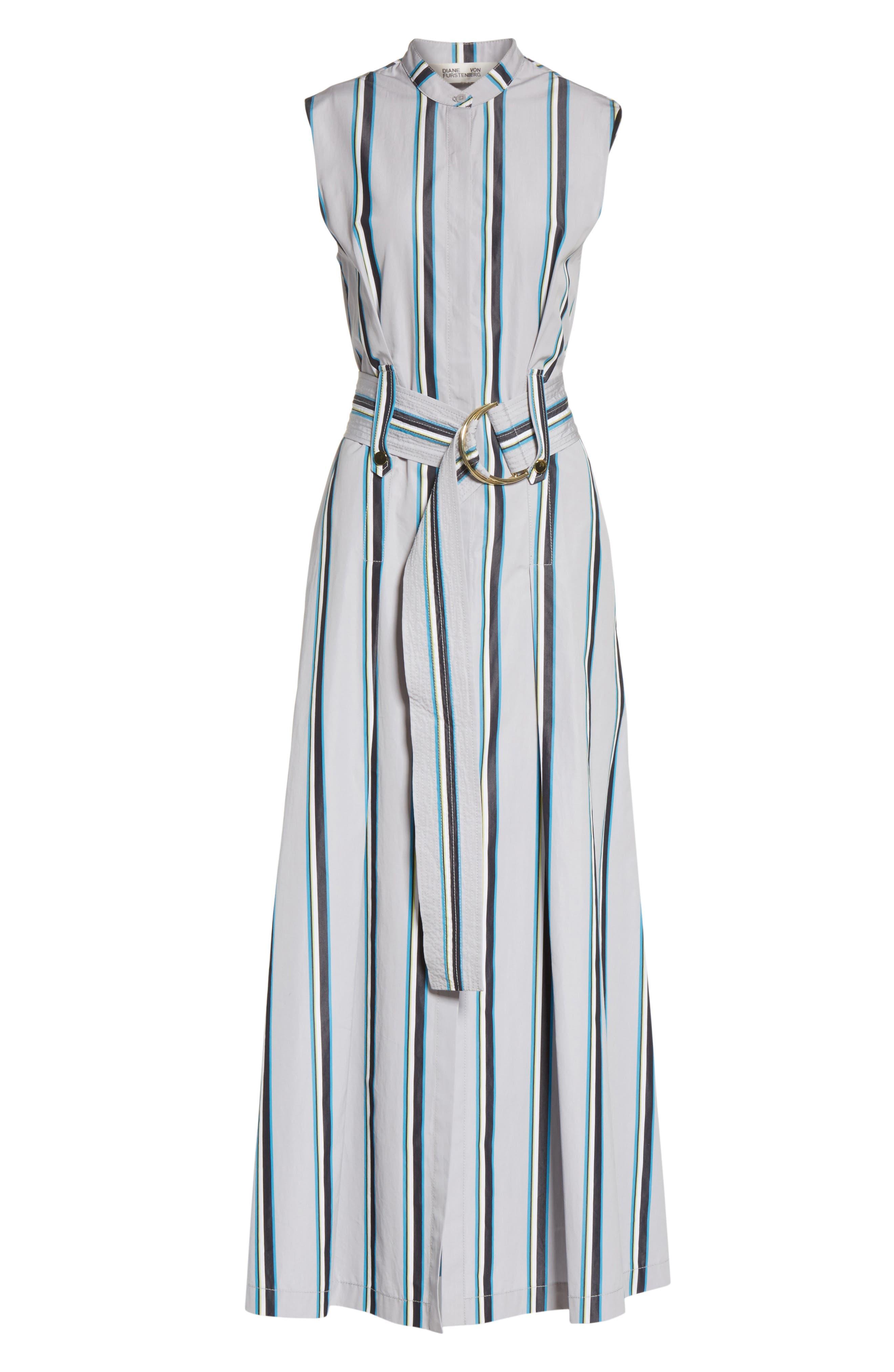 Diane von Furstenberg Stripe Belted Maxi Dress,                             Alternate thumbnail 6, color,                             Smoke Multi